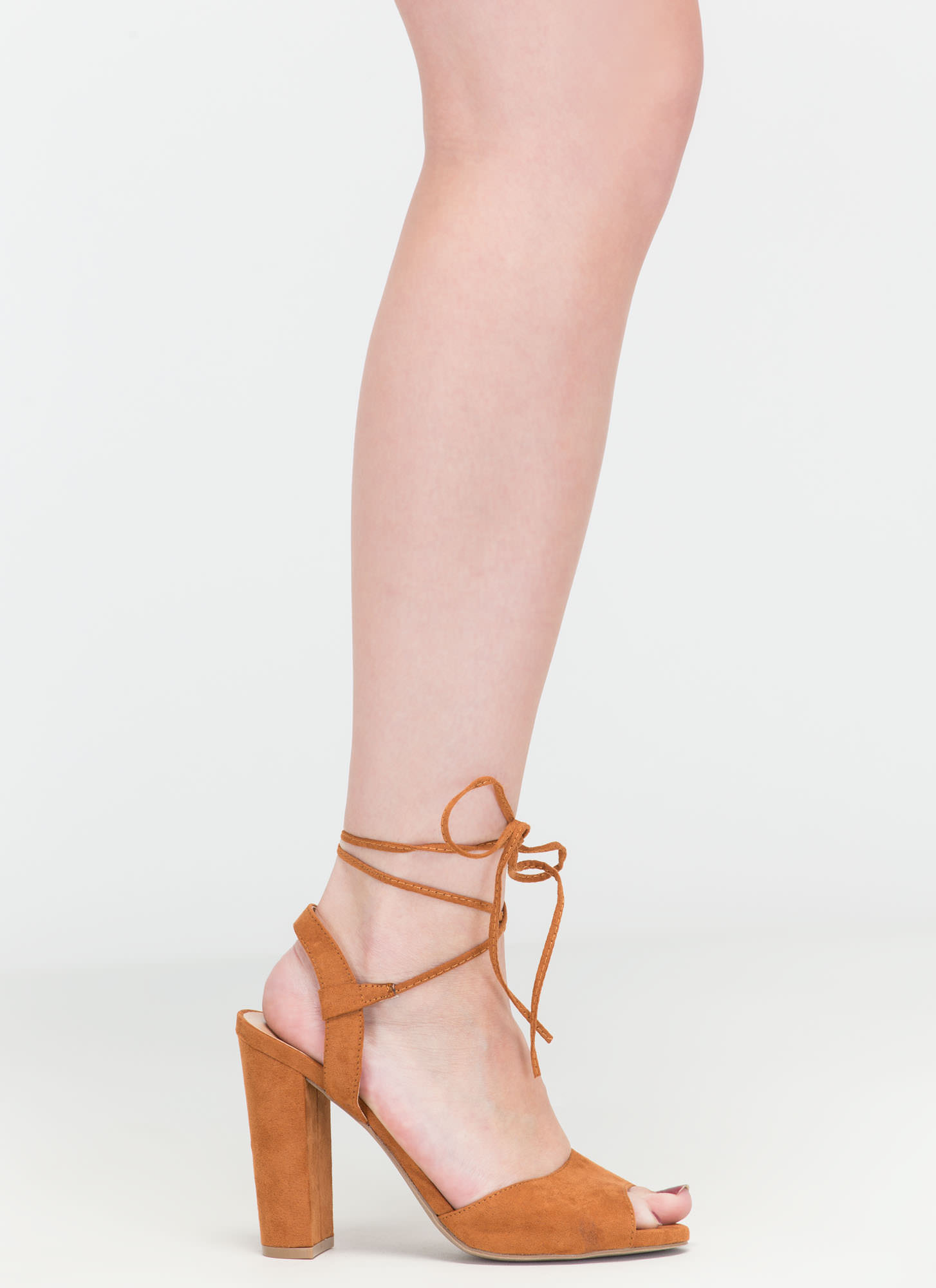 Peep In The Night Chunky Lace-Up Heels WHISKY