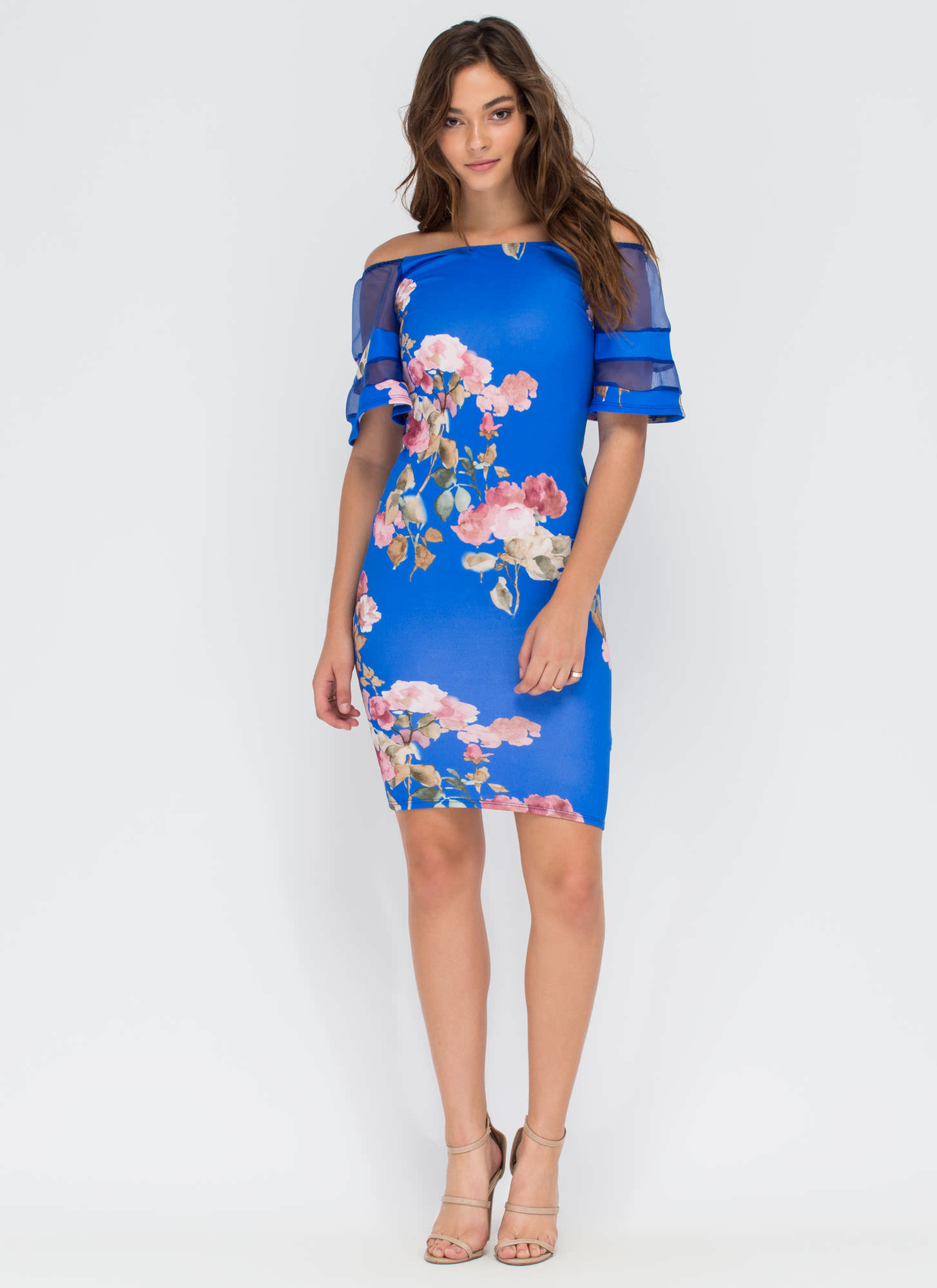 Floral Story Bell Sleeve Midi Dress ROYAL