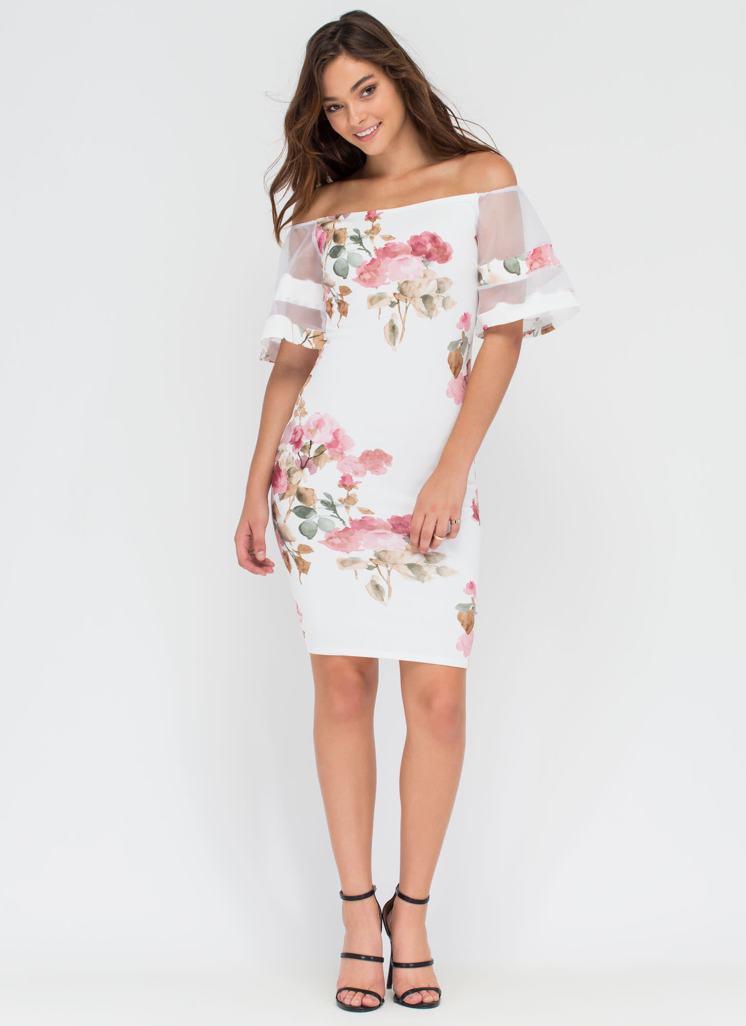 Floral Story Bell Sleeve Midi Dress WHITE