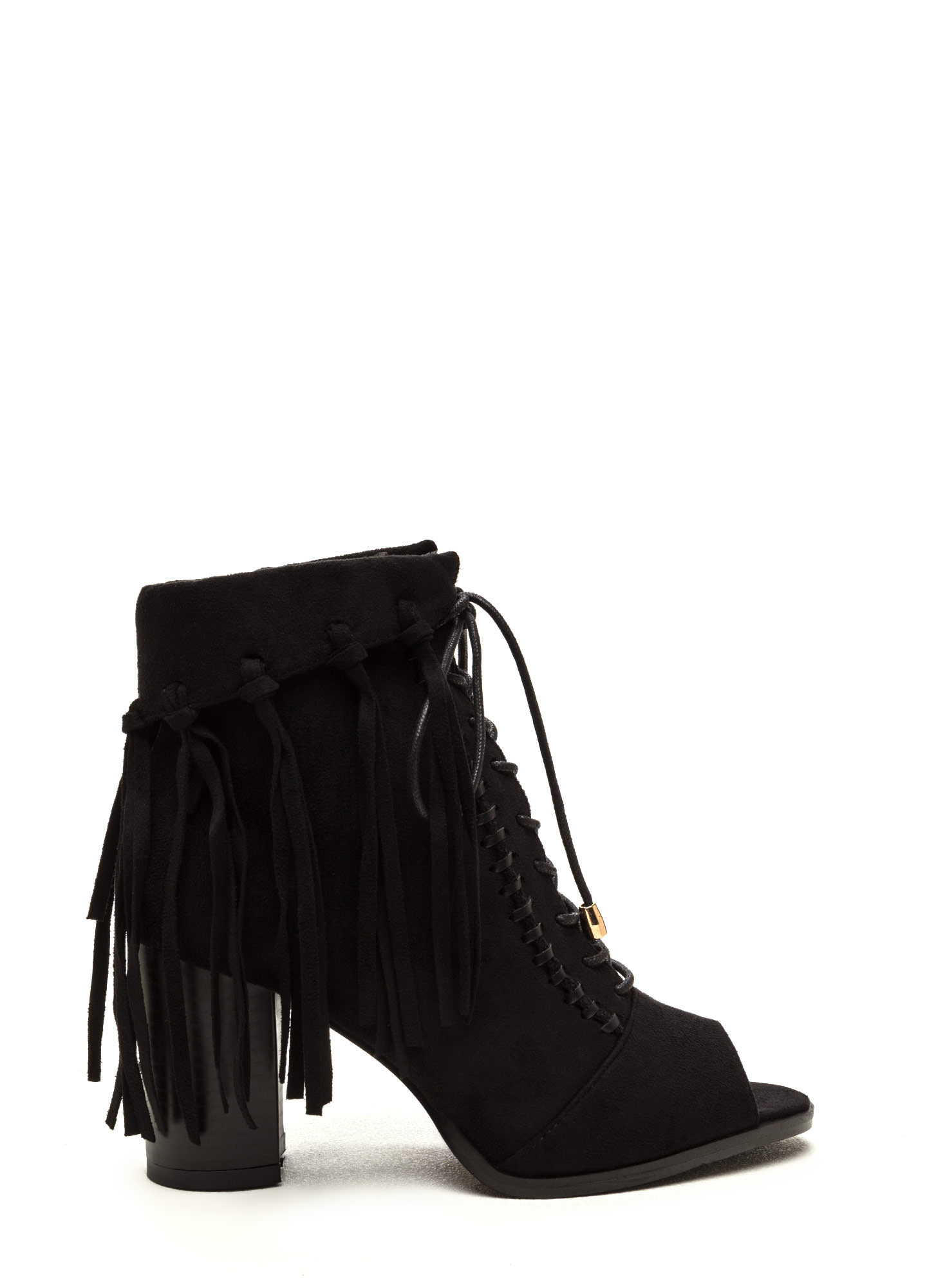 Fancy Fringe Chunky Lace-Up Booties BLACK