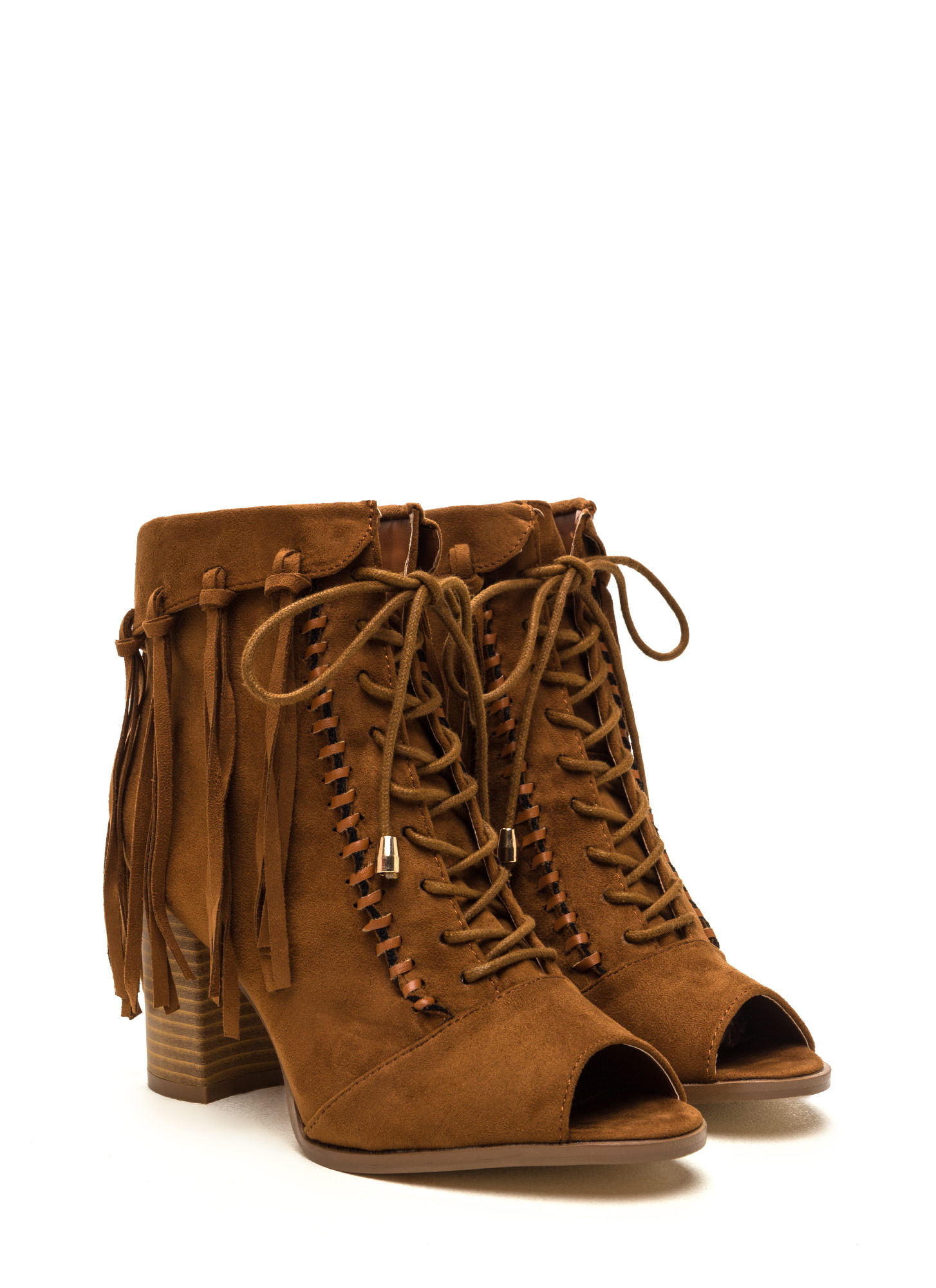 Fancy Fringe Chunky Lace-Up Booties CAMEL