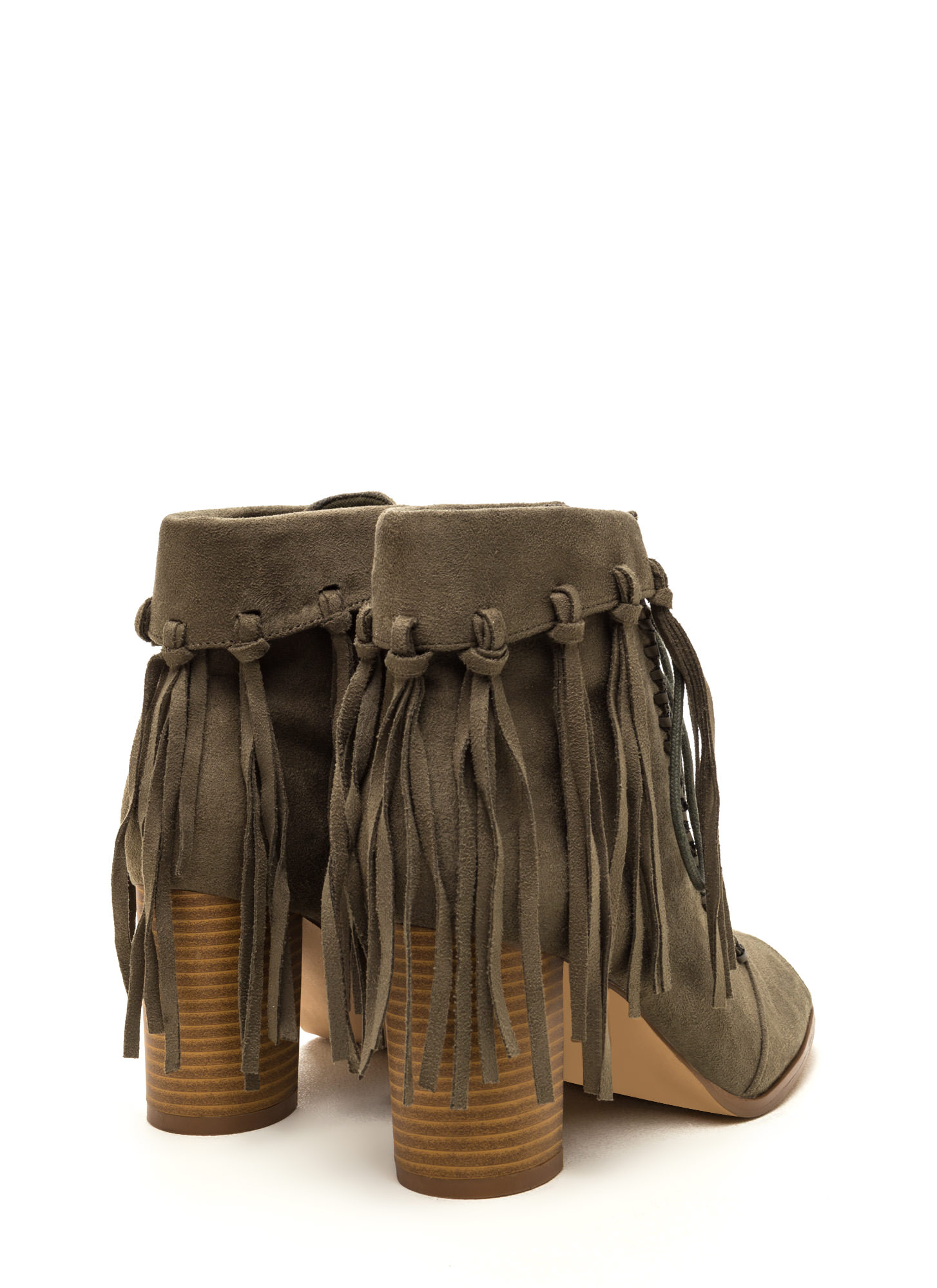 Fancy Fringe Chunky Lace-Up Booties OLIVE