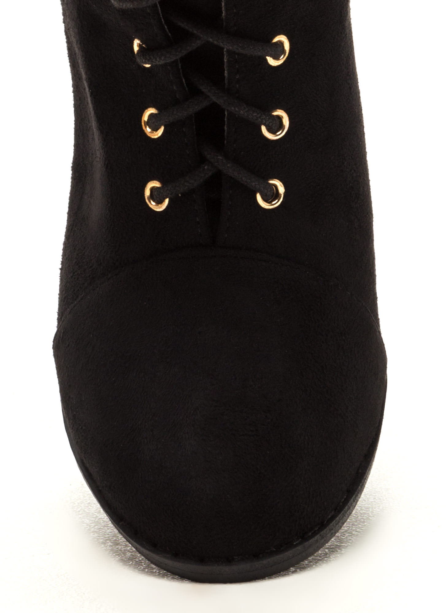 Bring It On Chunky Lace-Up Booties BLACK