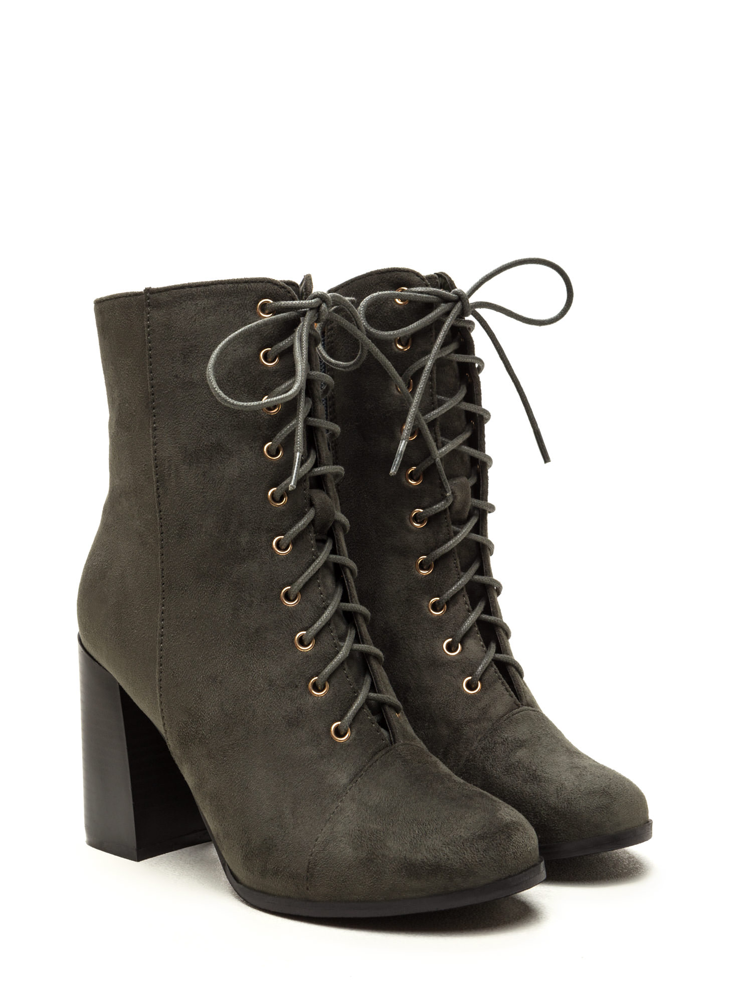 Bring It On Chunky Lace-Up Booties OLIVE