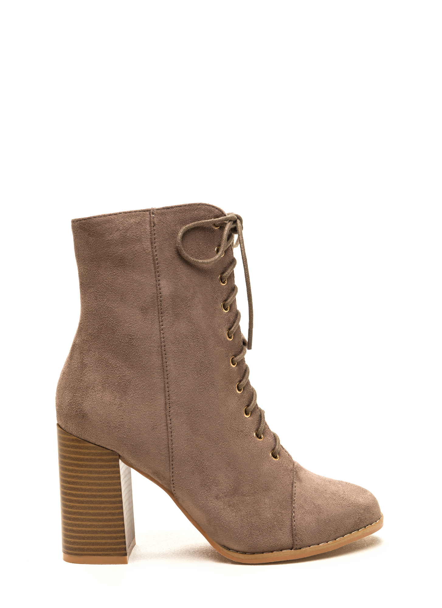 Bring It On Chunky Lace-Up Booties TAUPE