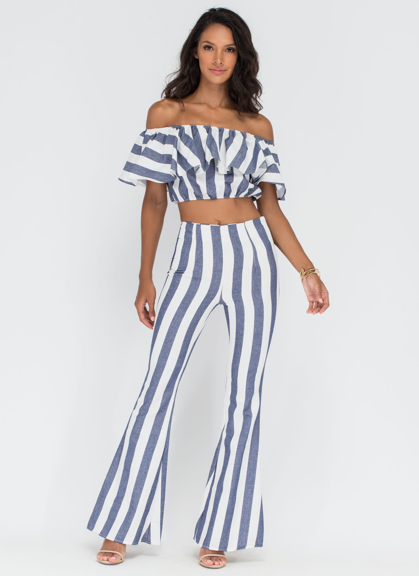 Stripe For The Picking Two-Piece Set BLUE