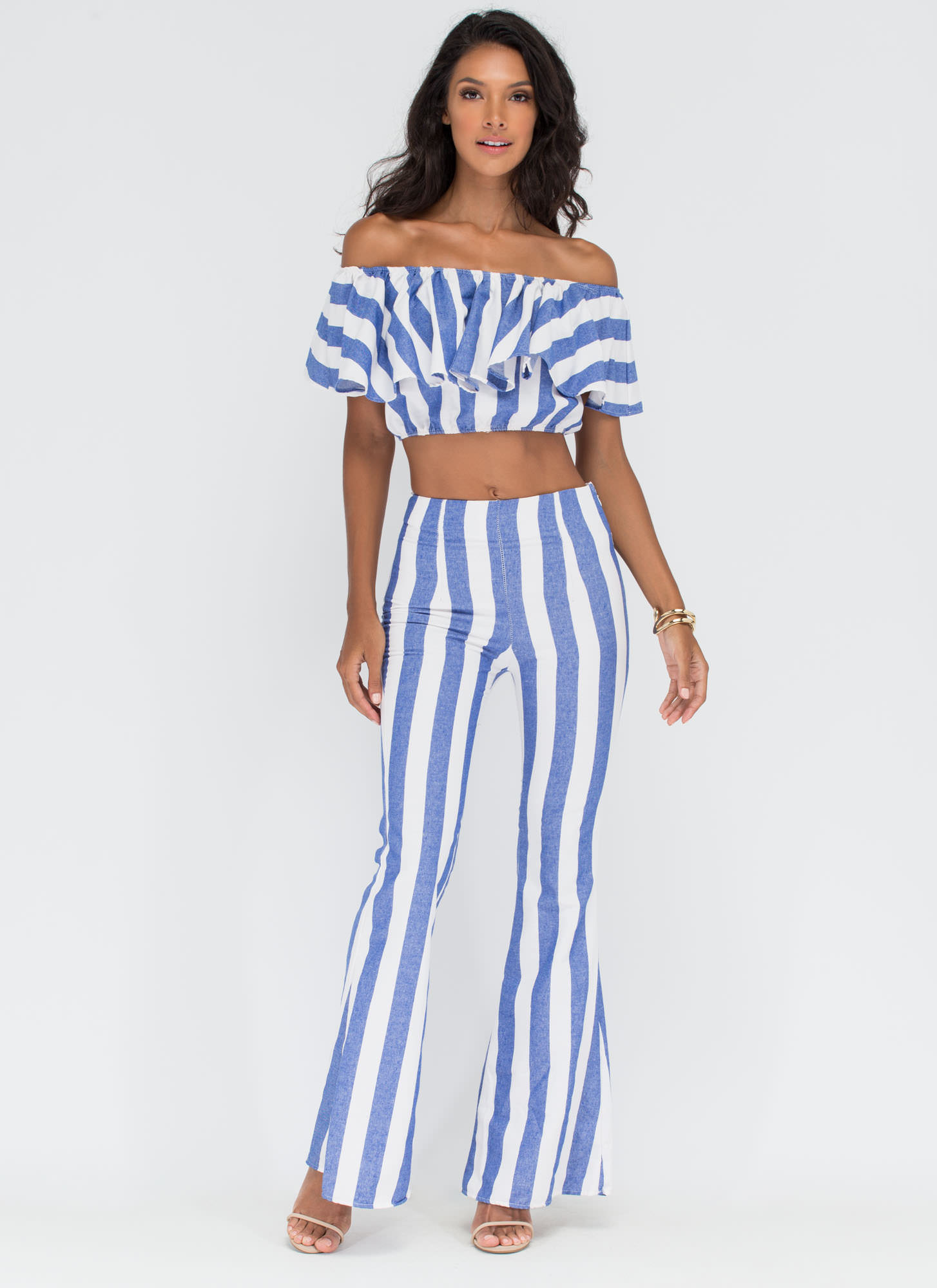 Stripe For The Picking Two-Piece Set LTBLUE