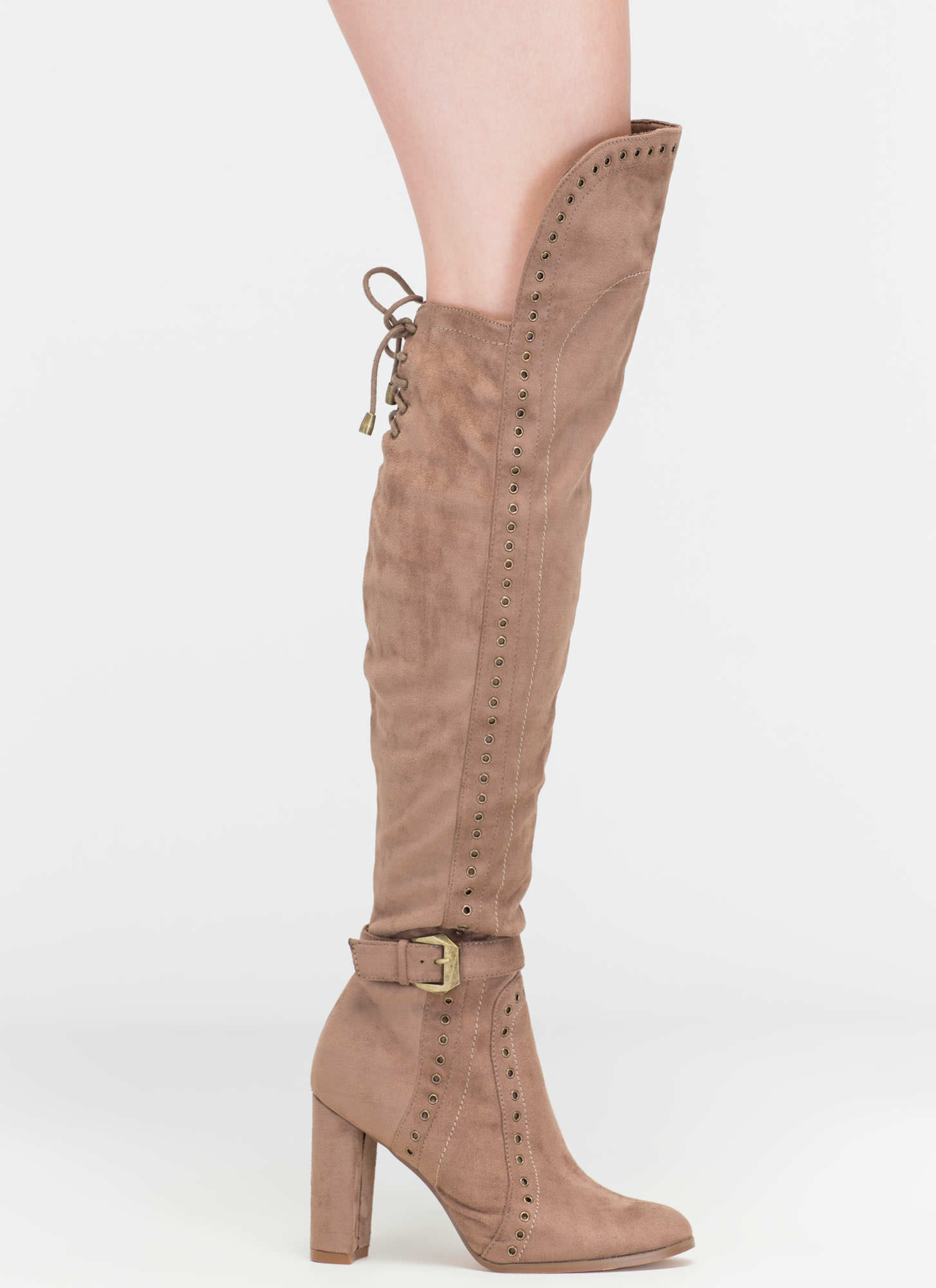 A Hole New World Chunky Thigh-High Boots TAUPE