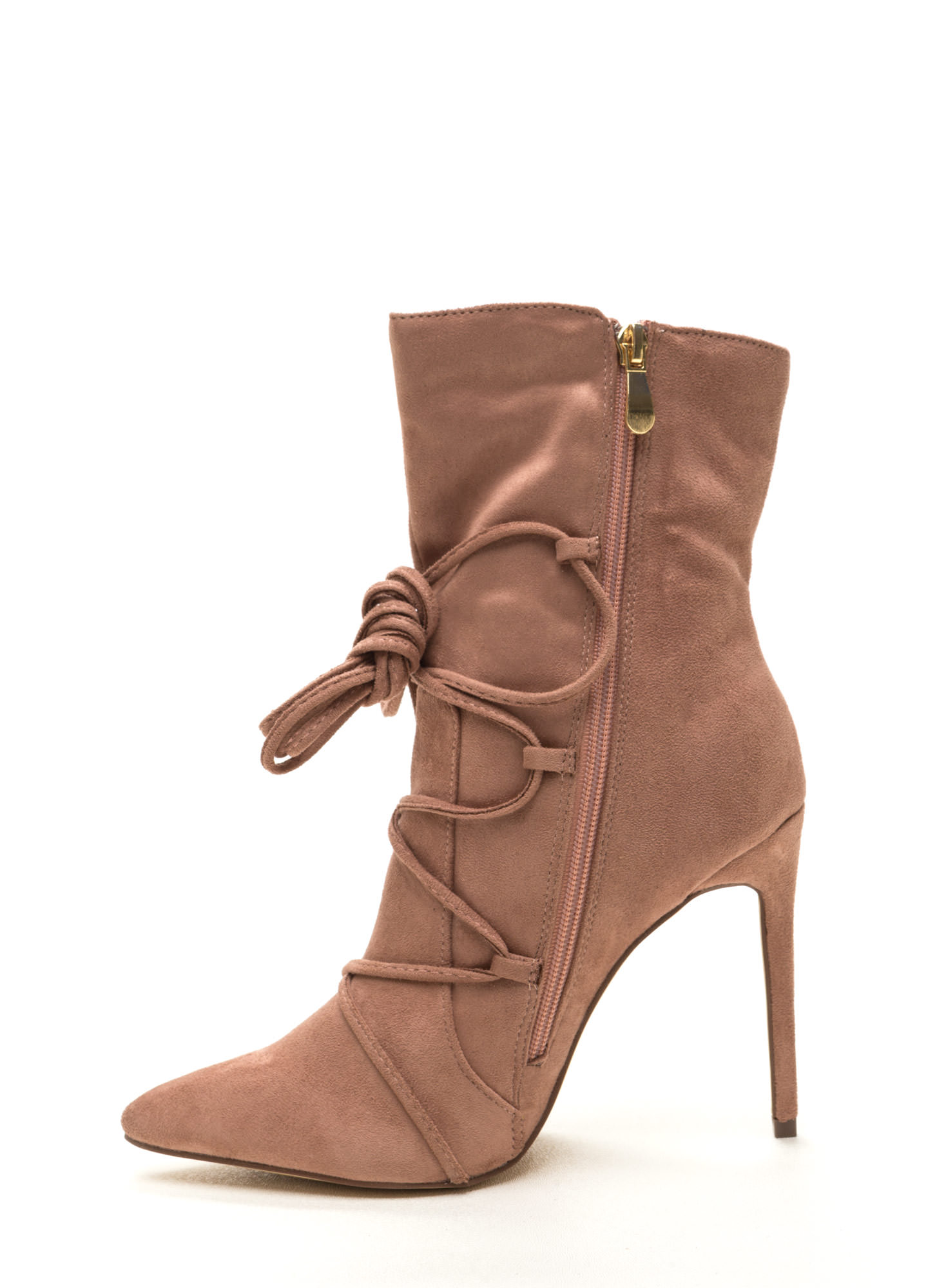 Lace-Up Your Way Pointy Stiletto Booties BLUSH
