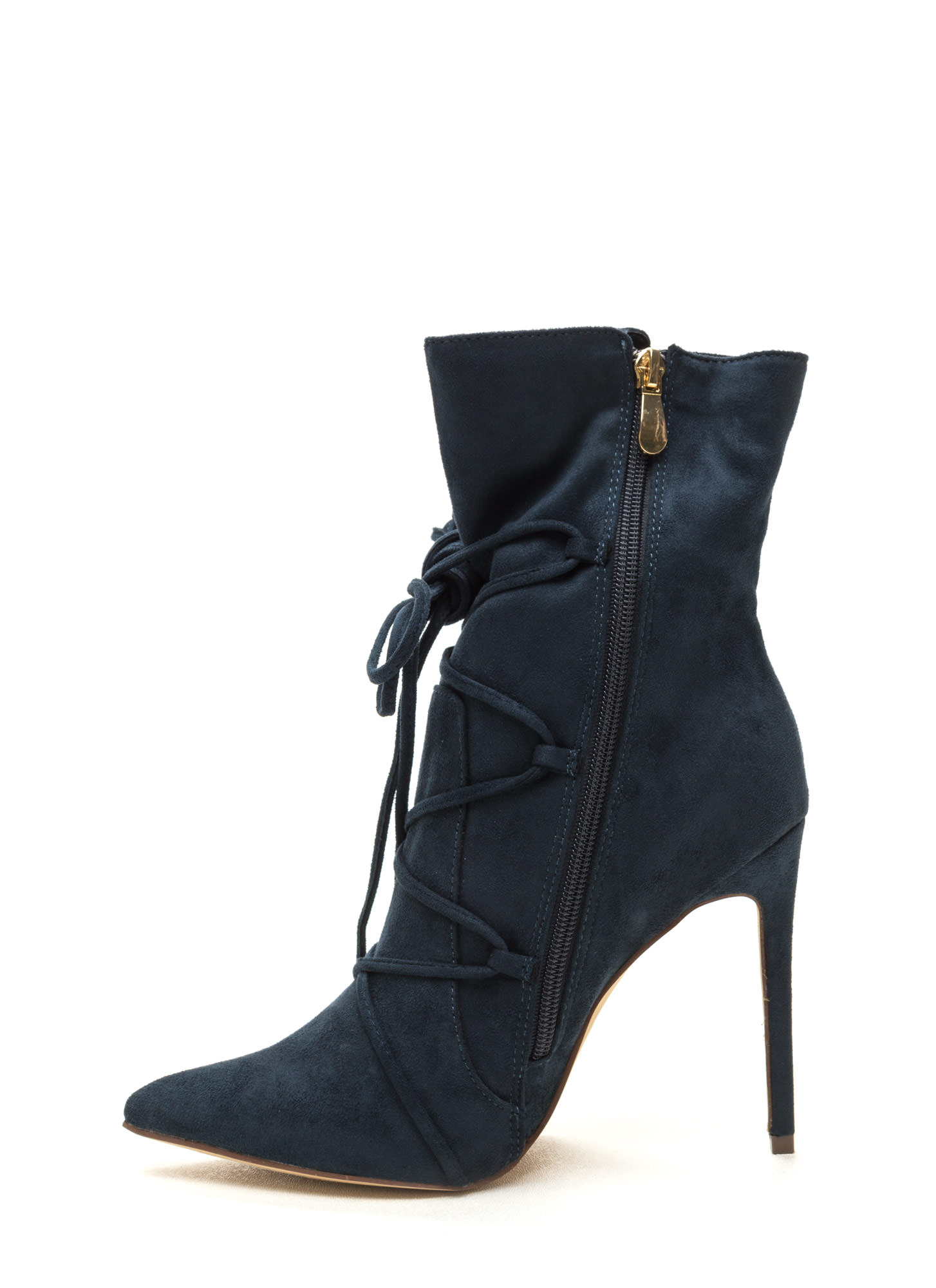 Lace-Up Your Way Pointy Stiletto Booties TEAL