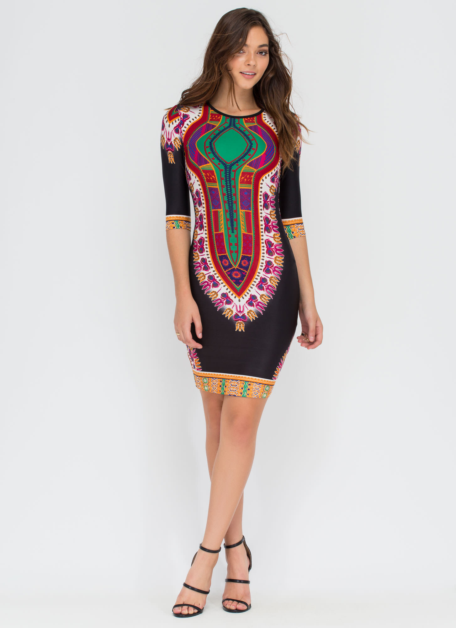 Life Of The Party Printed Midi Dress BLACK