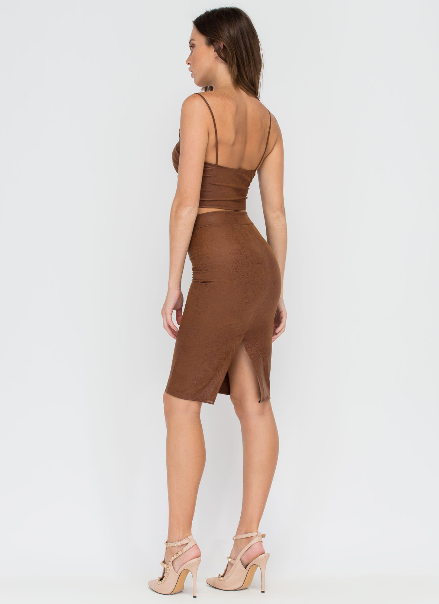 Drawn To Scale Bustier And Skirt Set BROWN