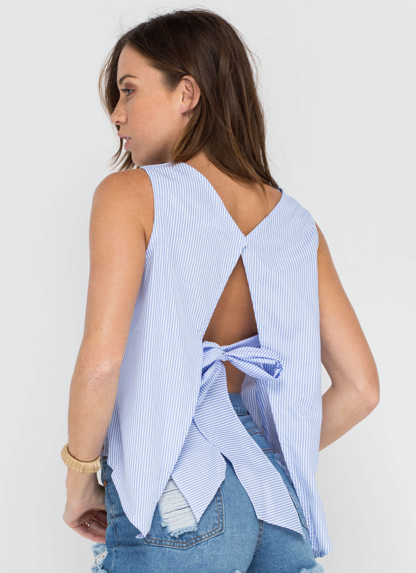 Shirt Why Not Striped Tie-Back Top BLUE