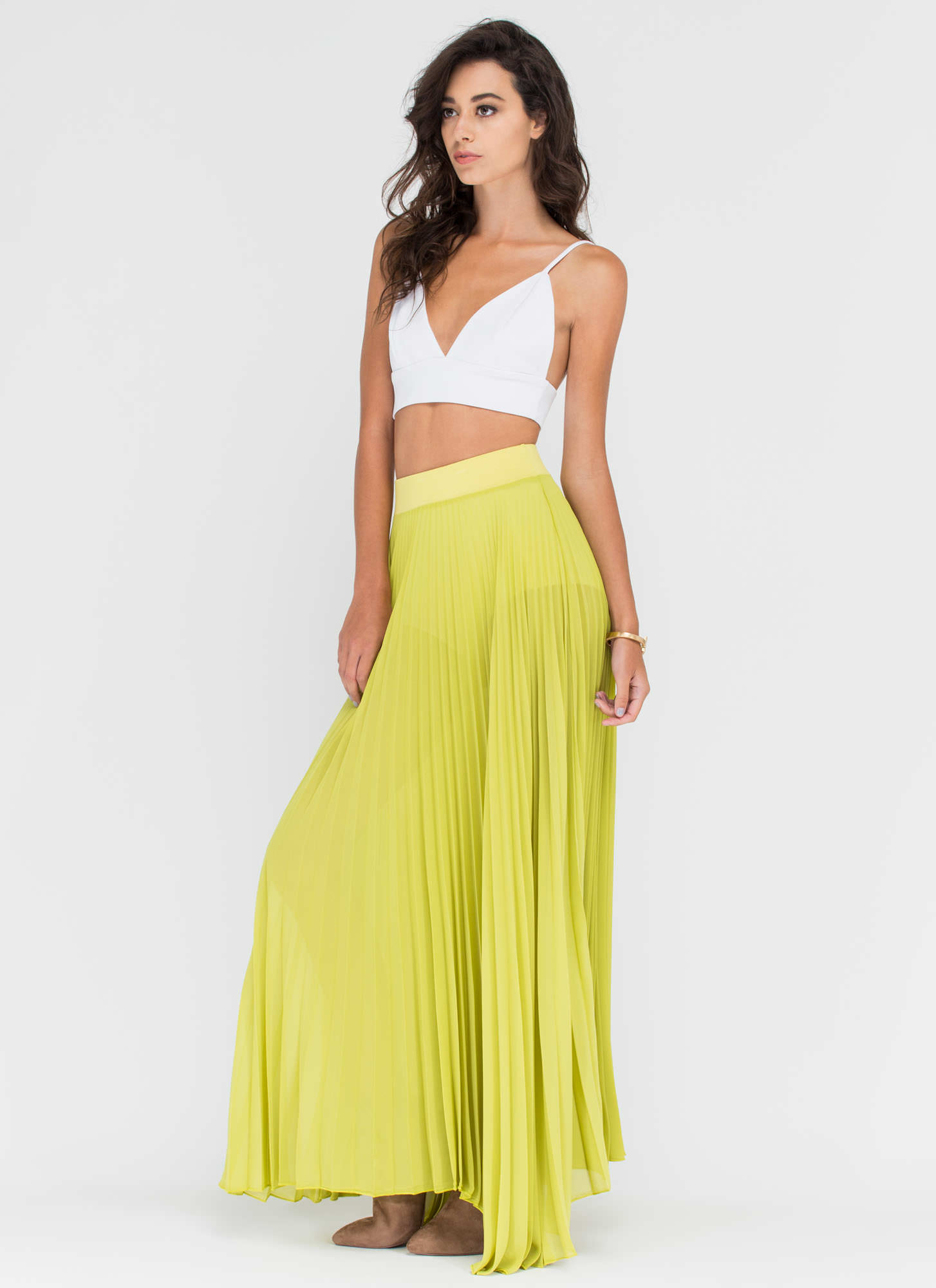 Act Accordionly Pleated Maxi Skirt LIME