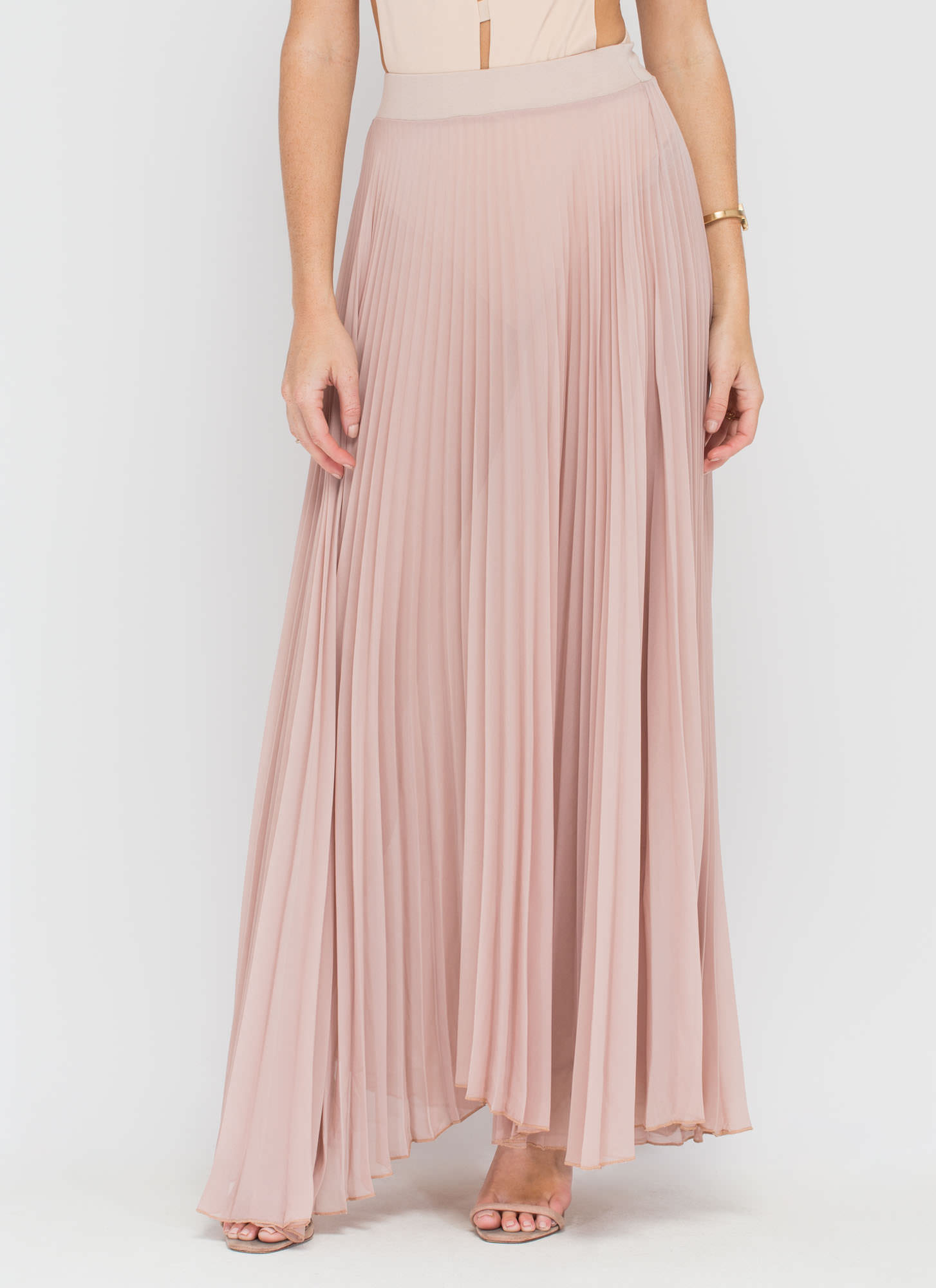 Act Accordionly Pleated Maxi Skirt NUDE