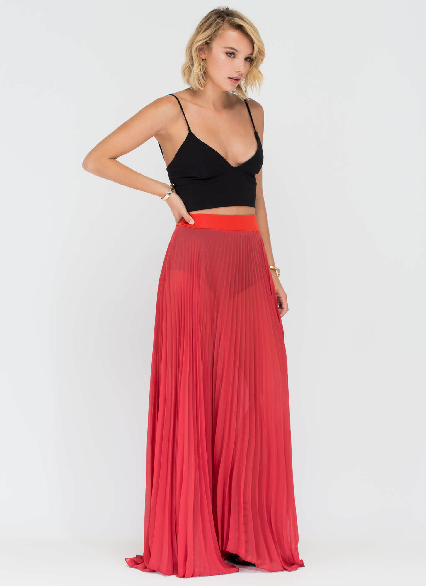 Act Accordionly Pleated Maxi Skirt RUST