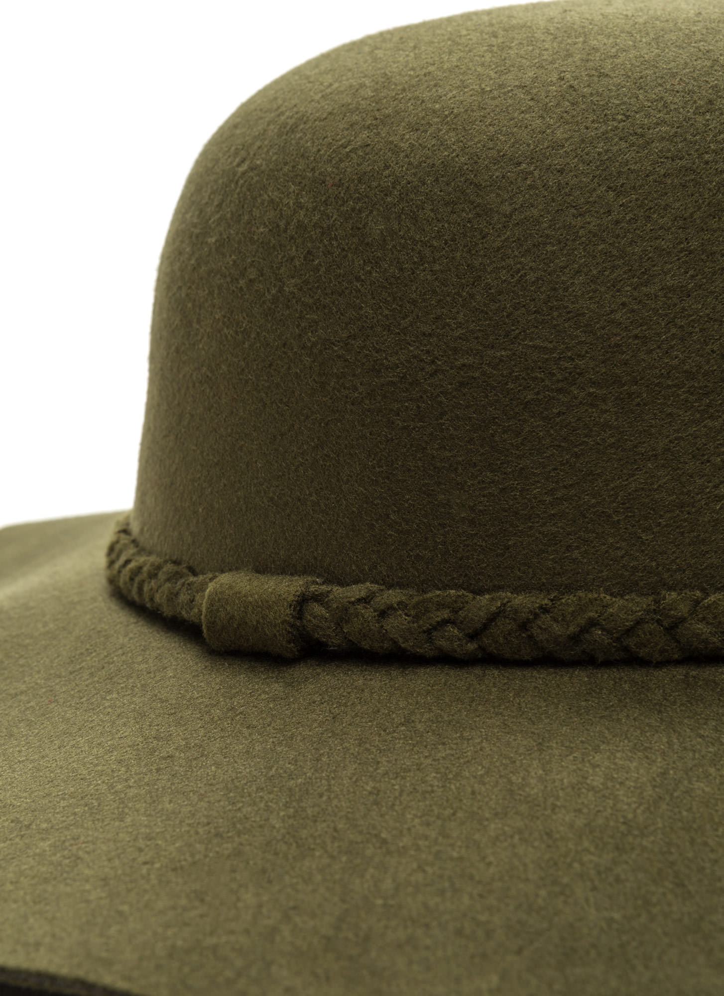 Braided Beauty Floppy Felted Hat OLIVE