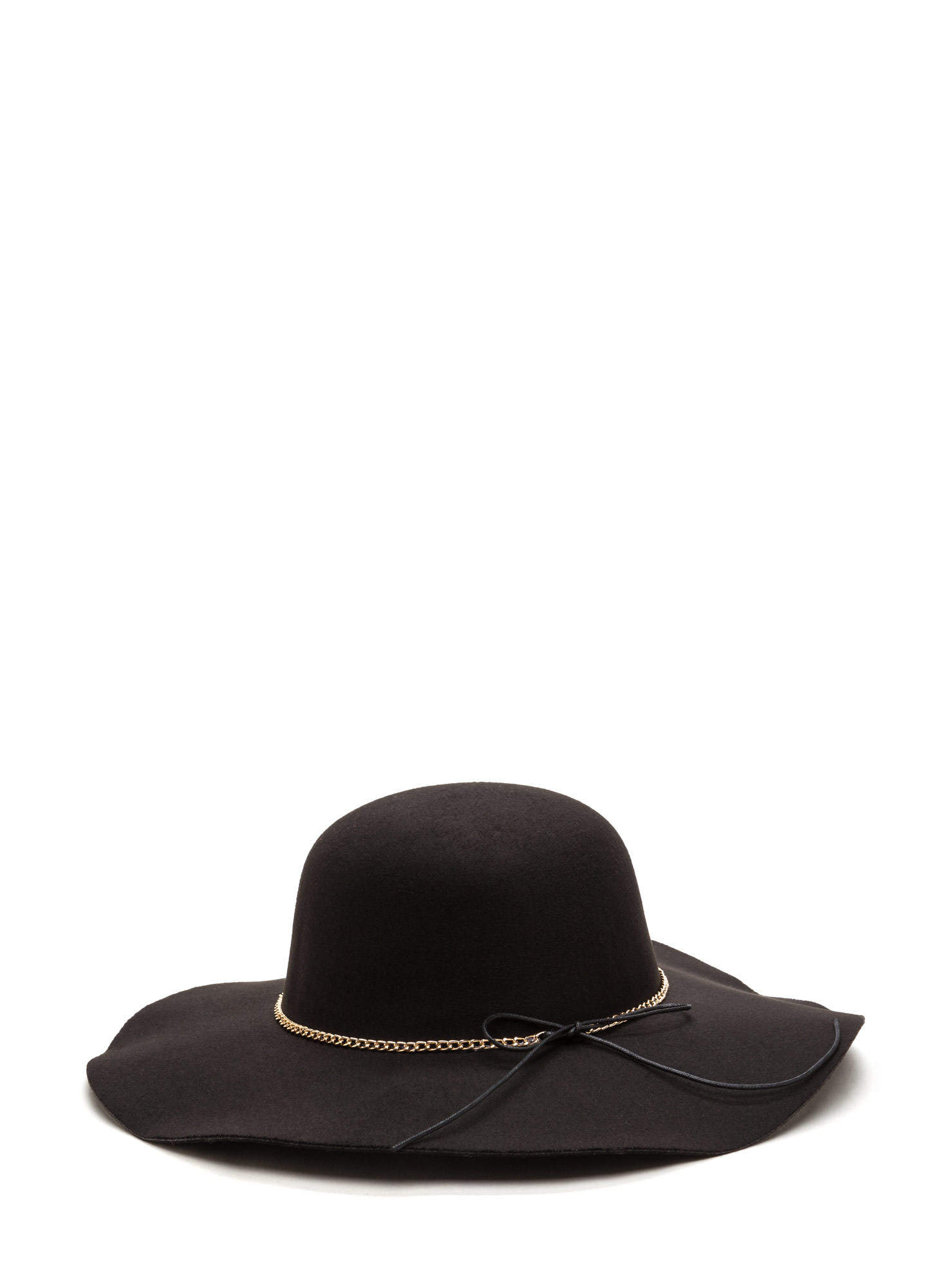 Bow And Chain Floppy Felted Hat BLACK