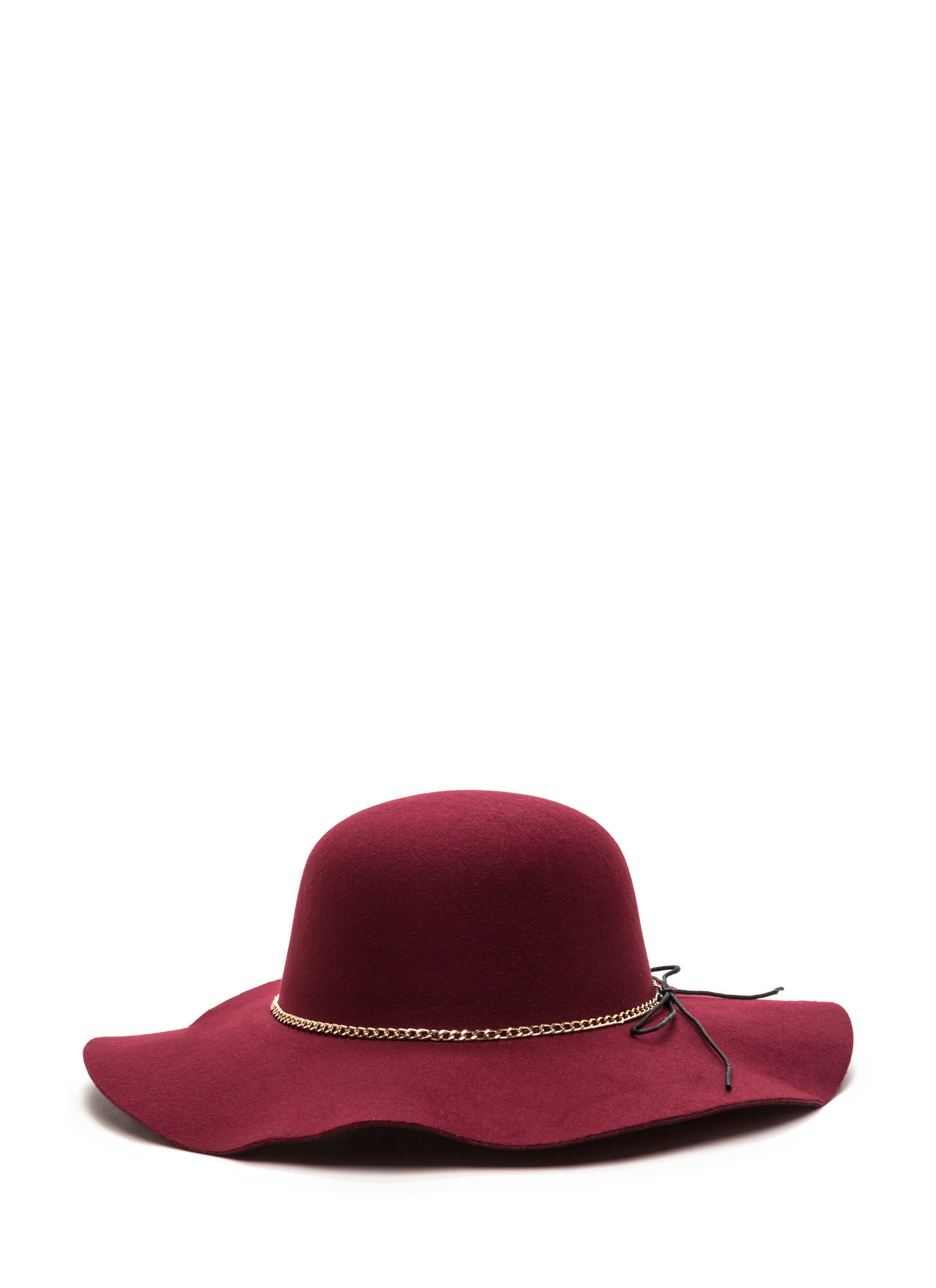Bow And Chain Floppy Felted Hat BURGUNDY