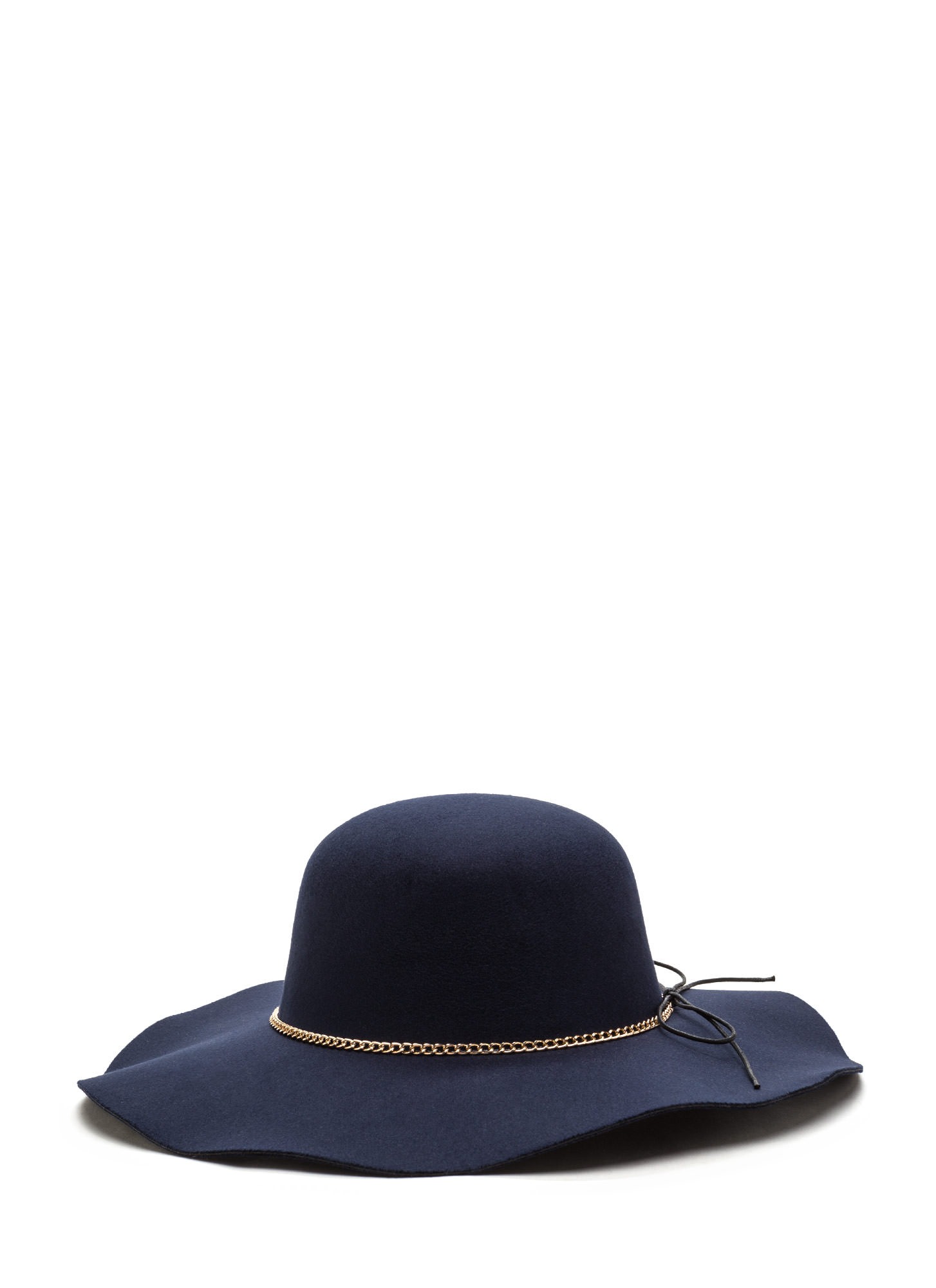 Bow And Chain Floppy Felted Hat NAVY