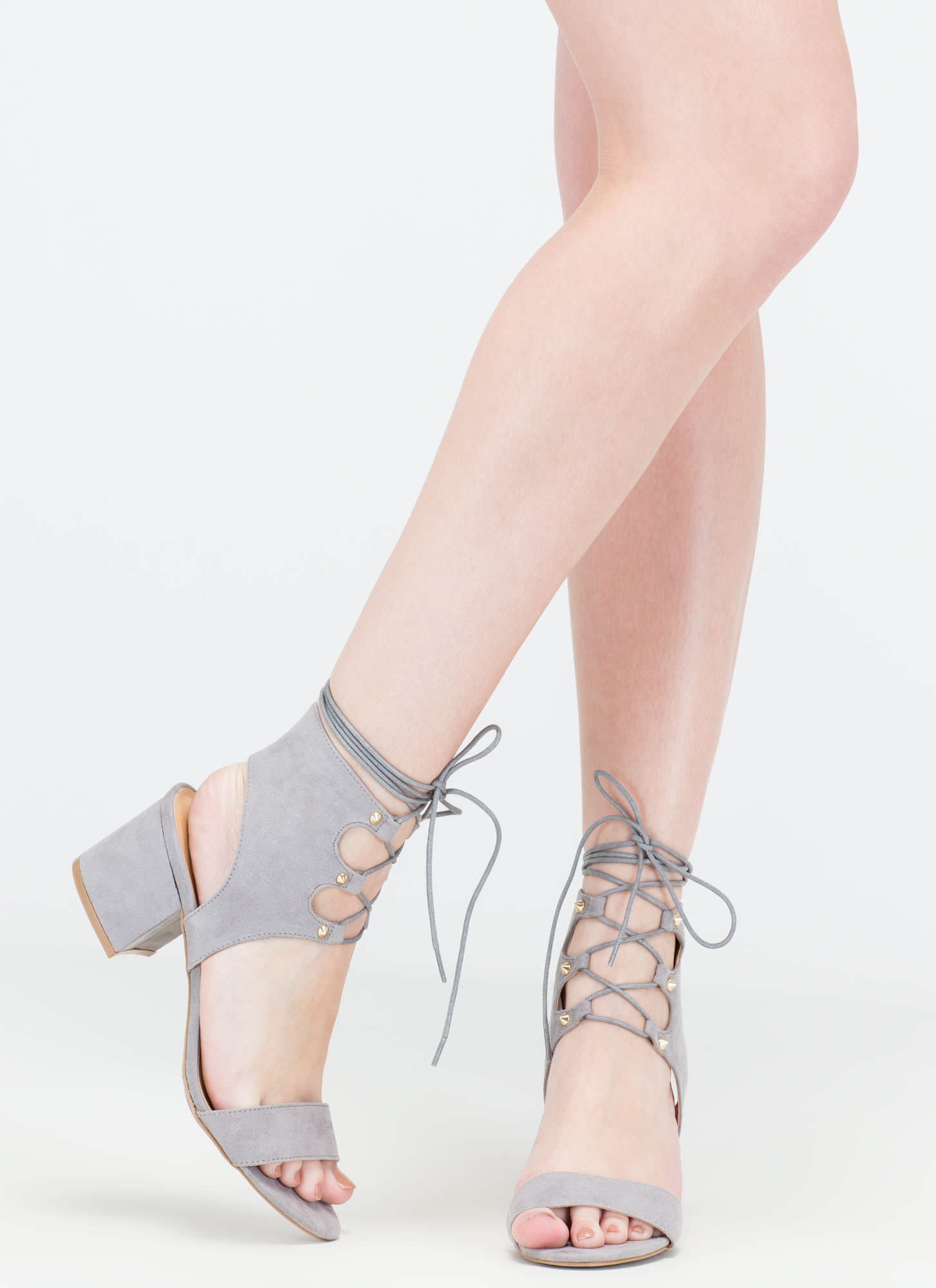 Trading Laces Cut-Out Block Heels GREY