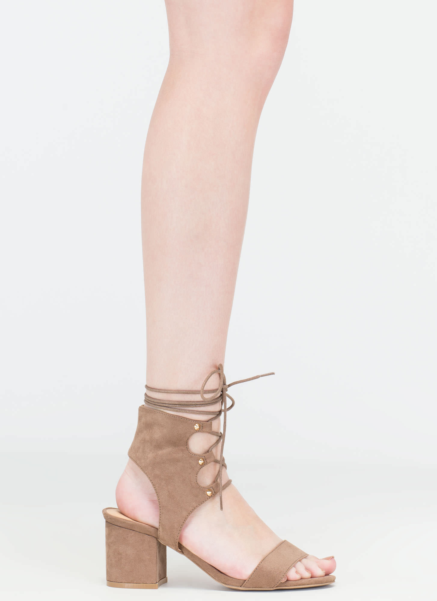 Trading Laces Cut-Out Block Heels TAUPE