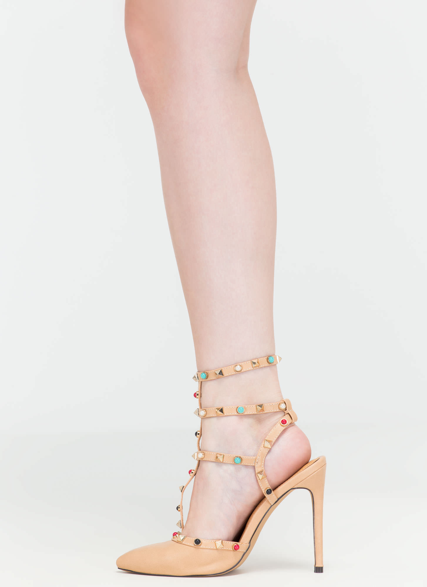 Rock Party Pointy T-Strap Heels NUDE