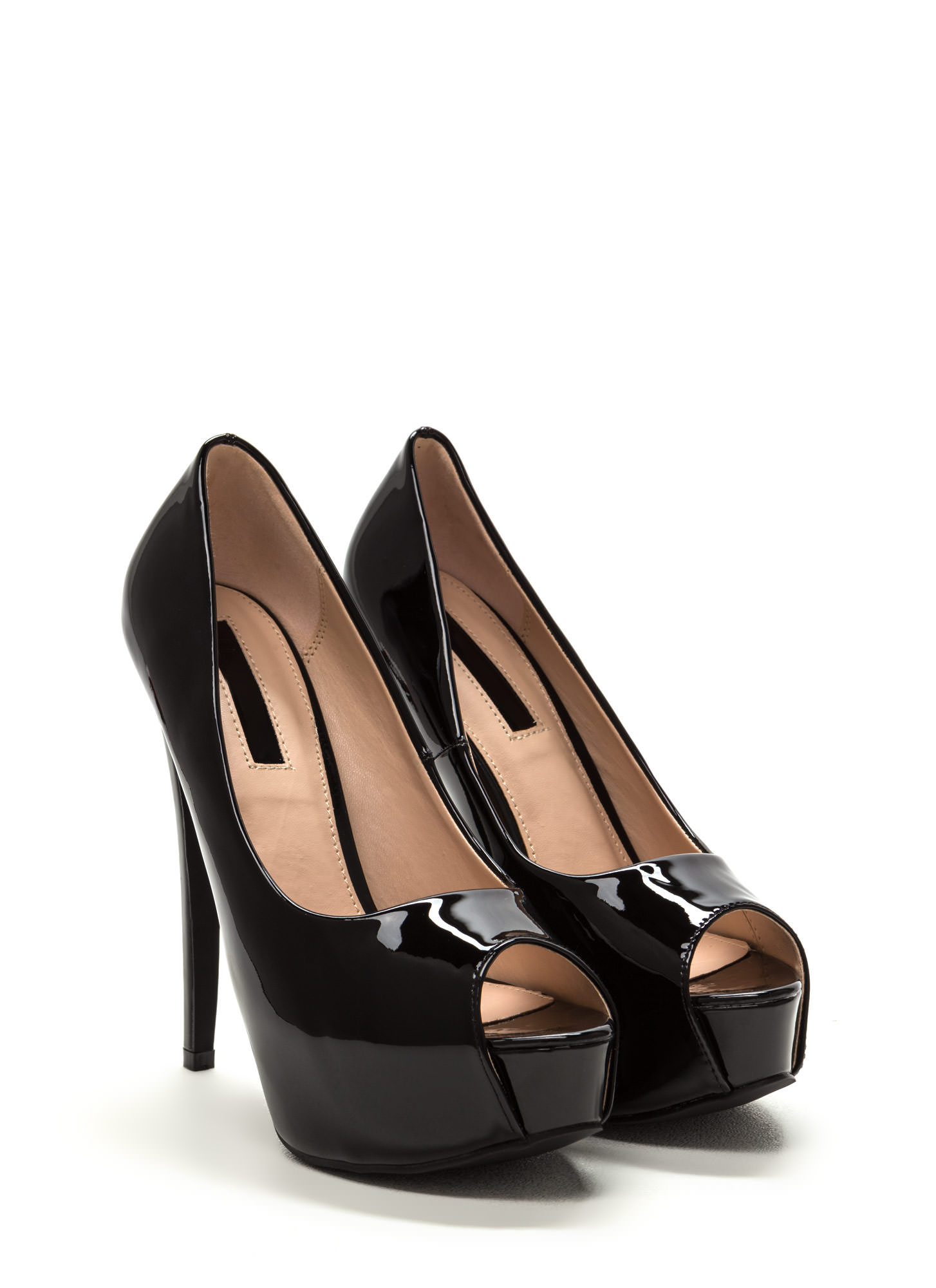 High Voltage Peep-Toe Platform Pumps BLACK