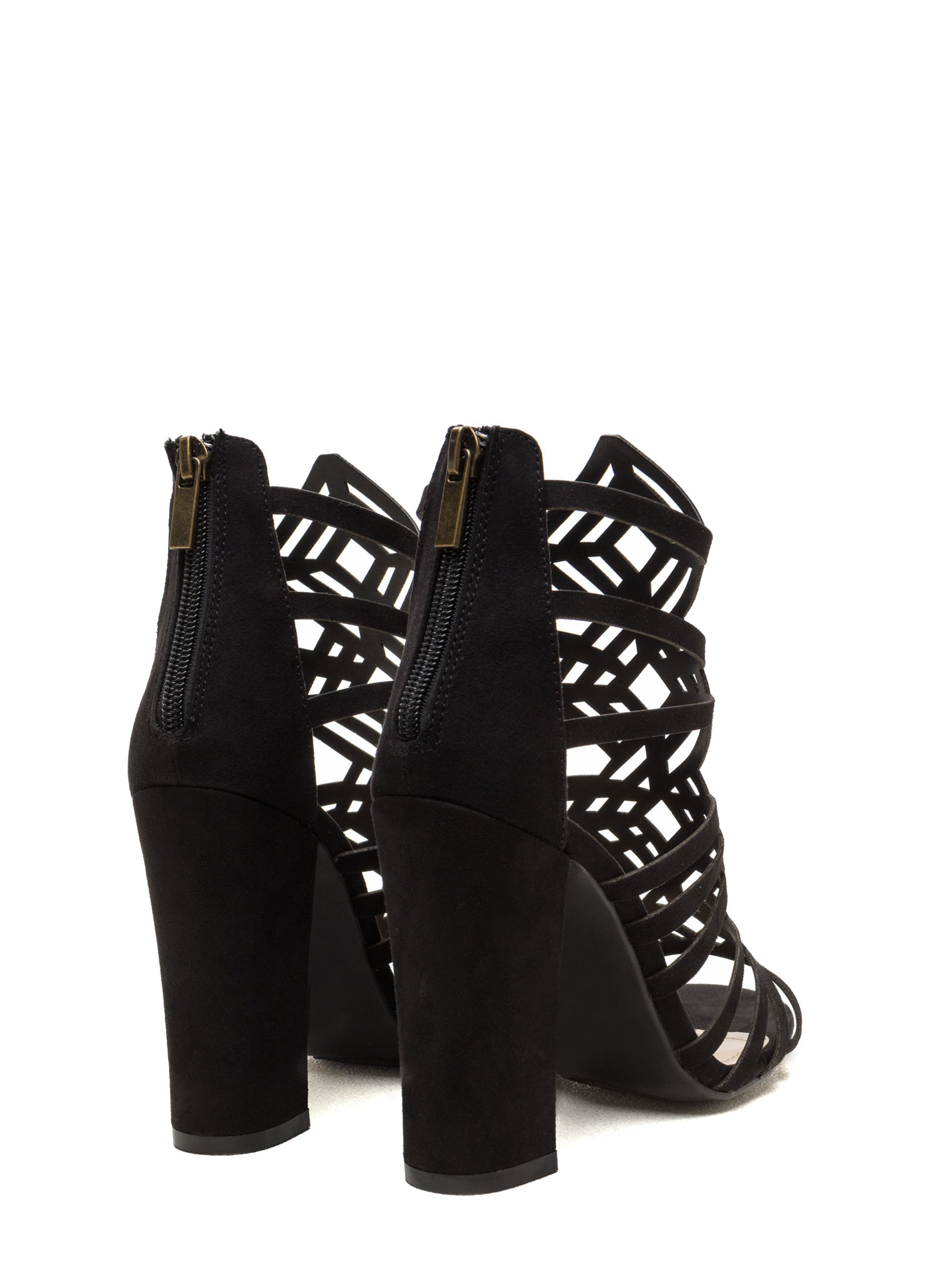 Girl's Best Friend Caged Chunky Heels BLACK