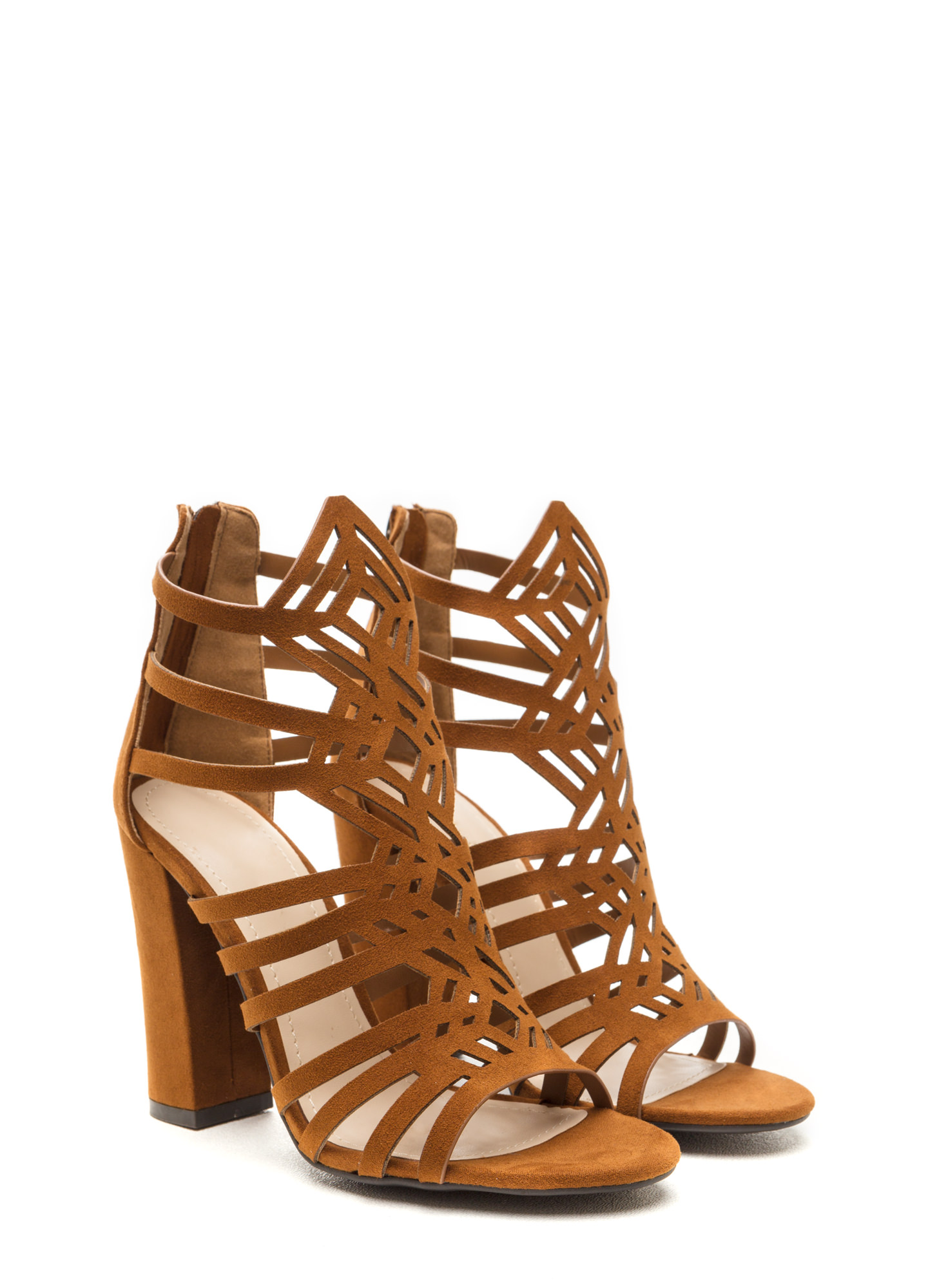 Girl's Best Friend Caged Chunky Heels CHESTNUT