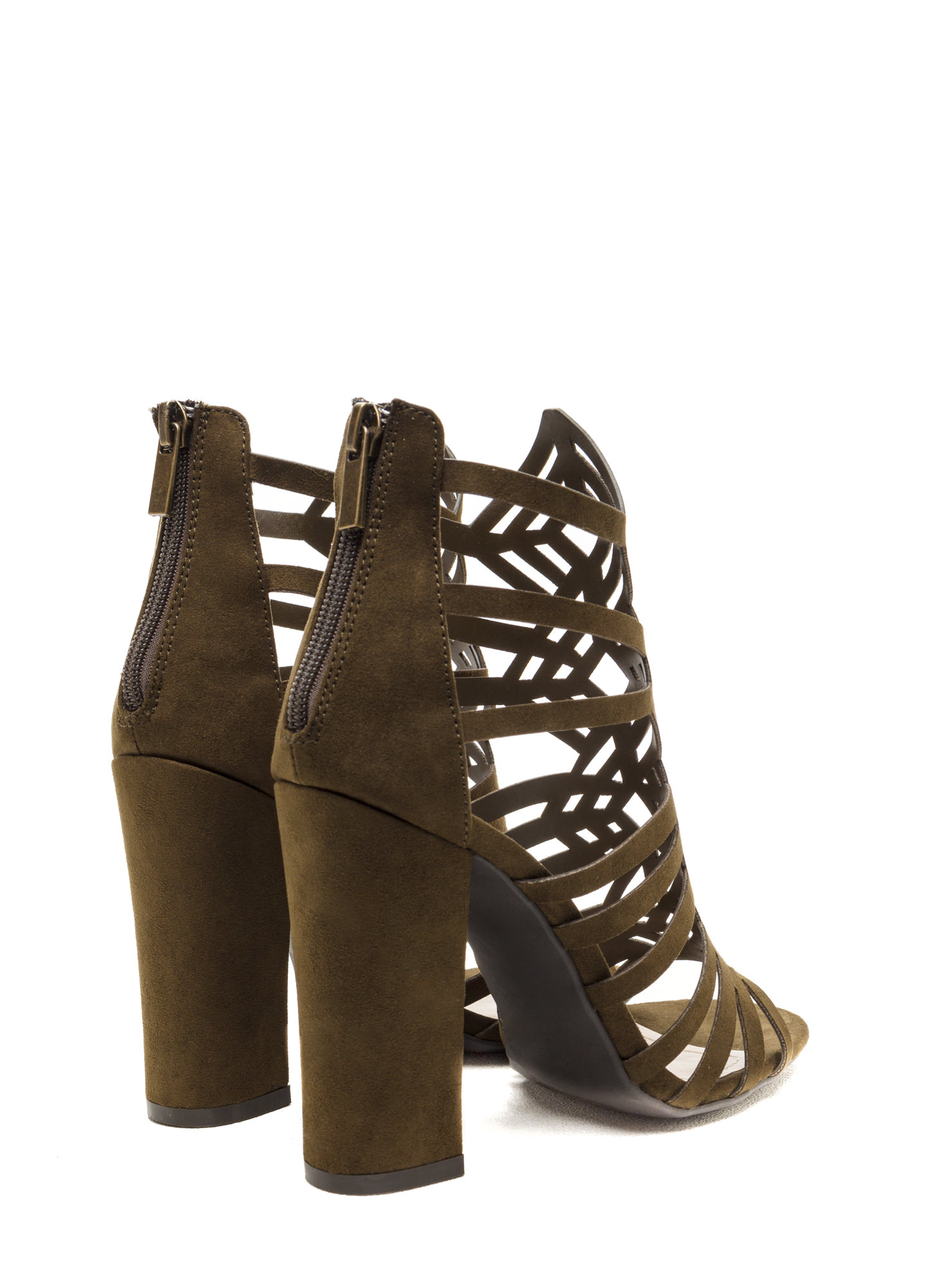 Girl's Best Friend Caged Chunky Heels OLIVE