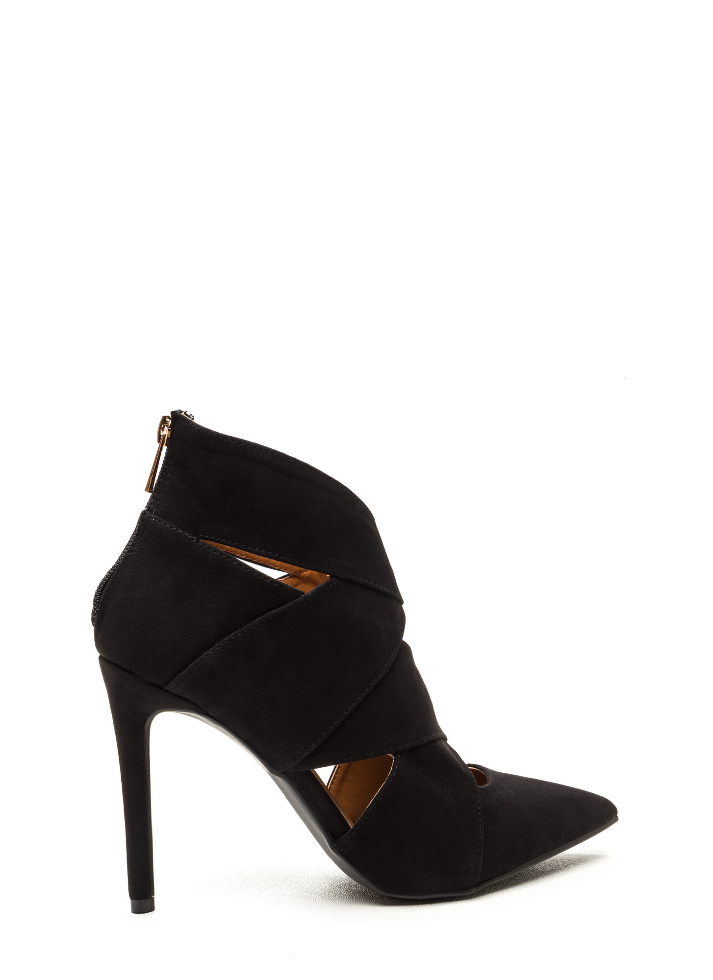 Wrap Star Strappy Cut-Out Heels BLACK