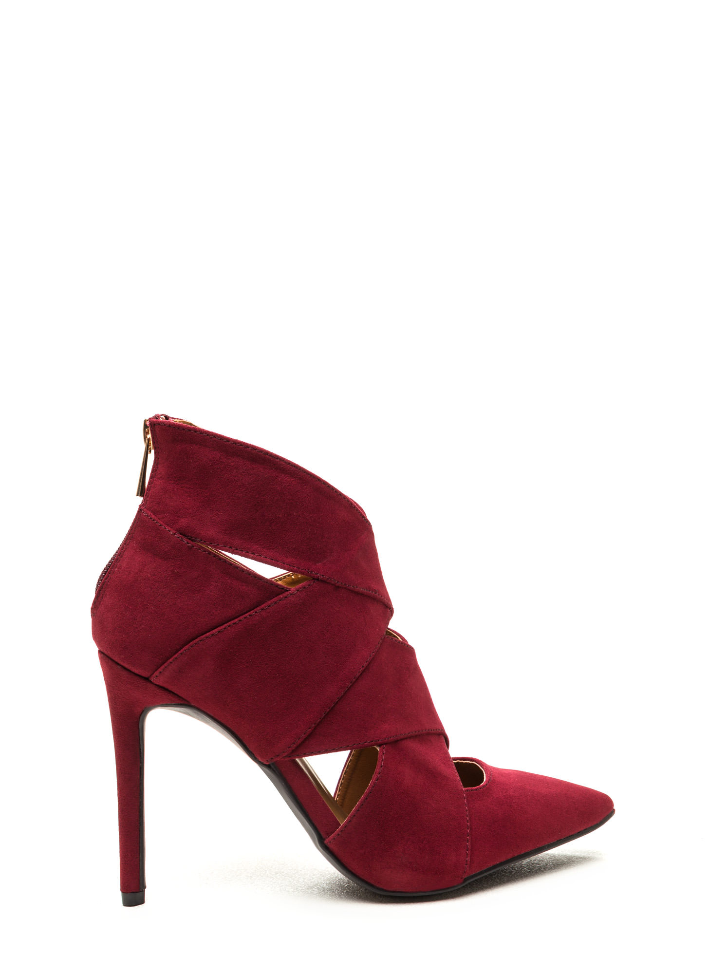 Wrap Star Strappy Cut-Out Heels MERLOT