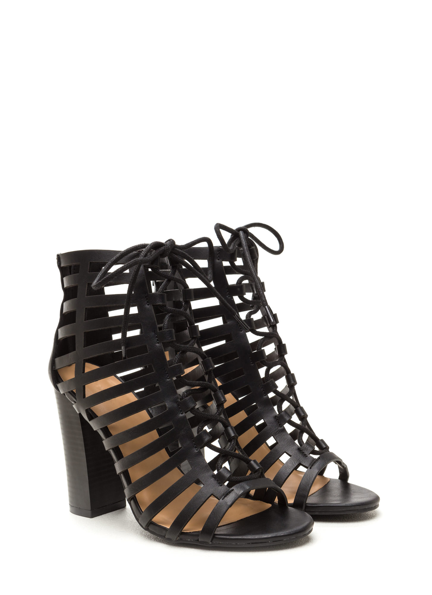 Saucy Girl Chunky Caged Lace-Up Heels BLACK