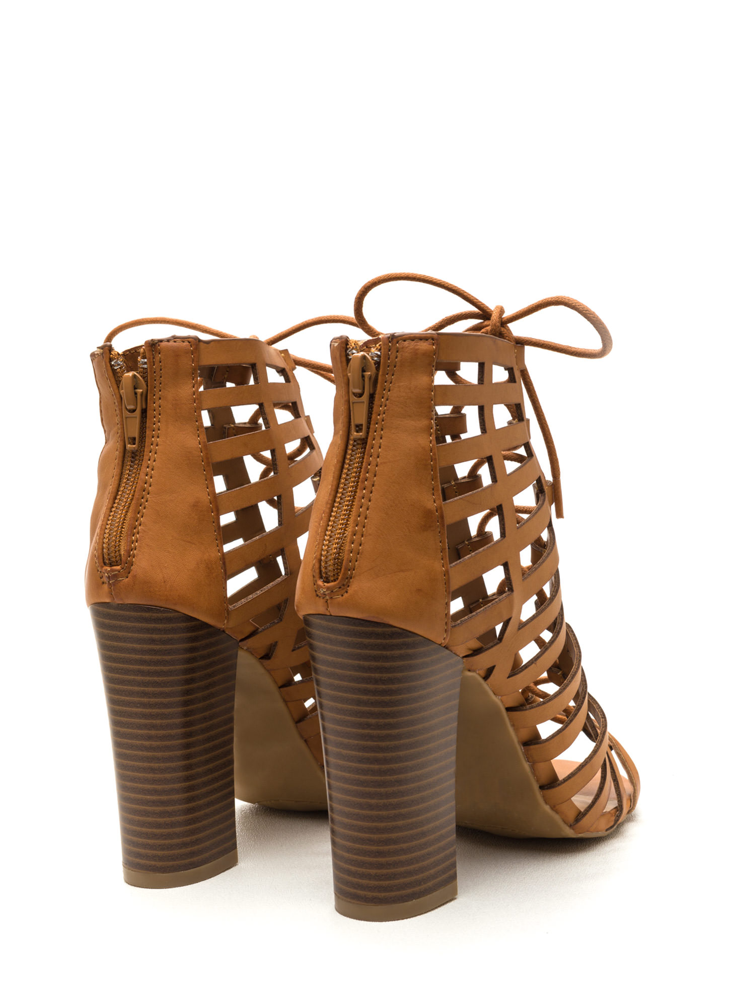 Saucy Girl Chunky Caged Lace-Up Heels TAN
