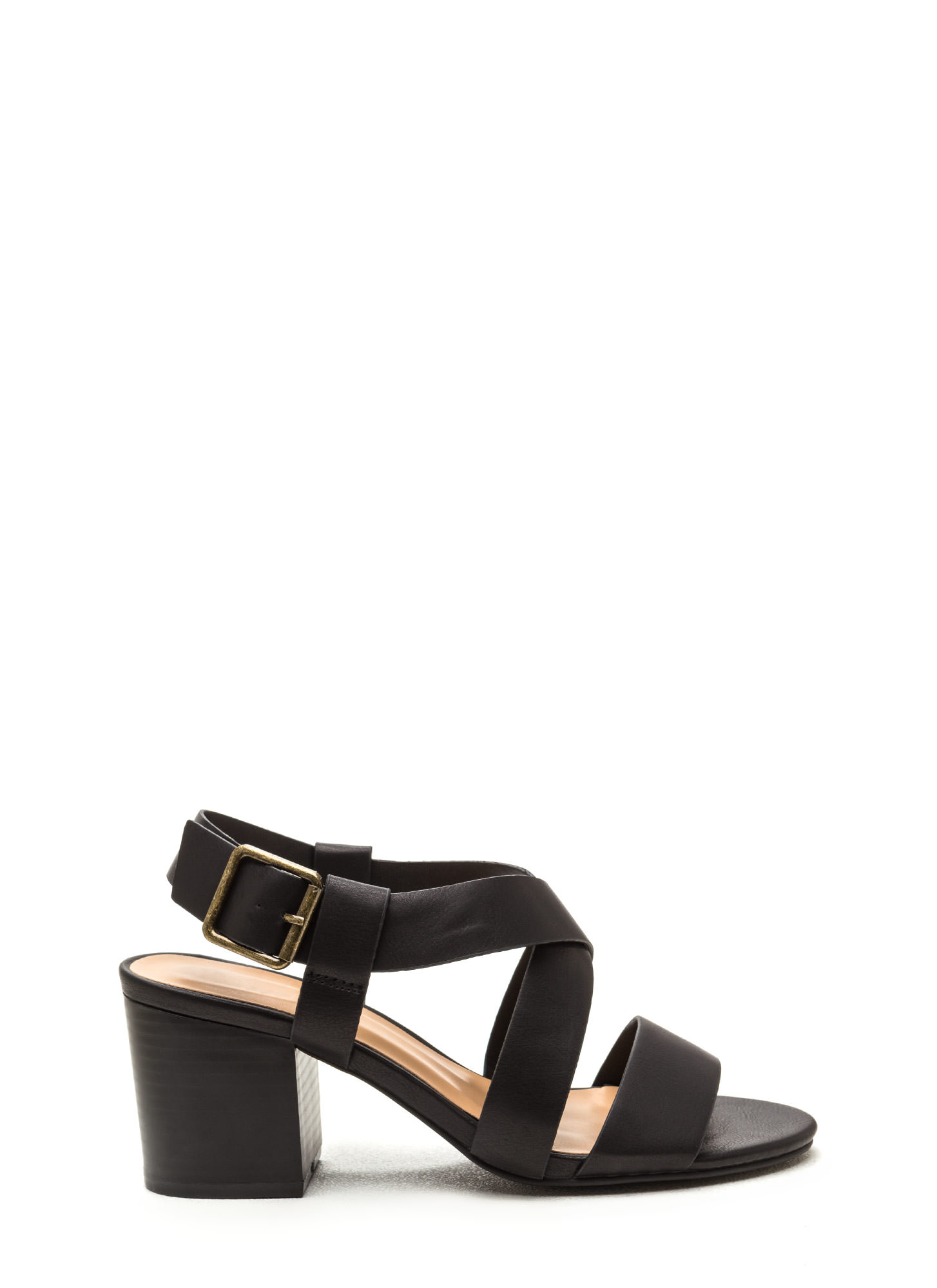 Around The Block Strappy Chunky Heels BLACK