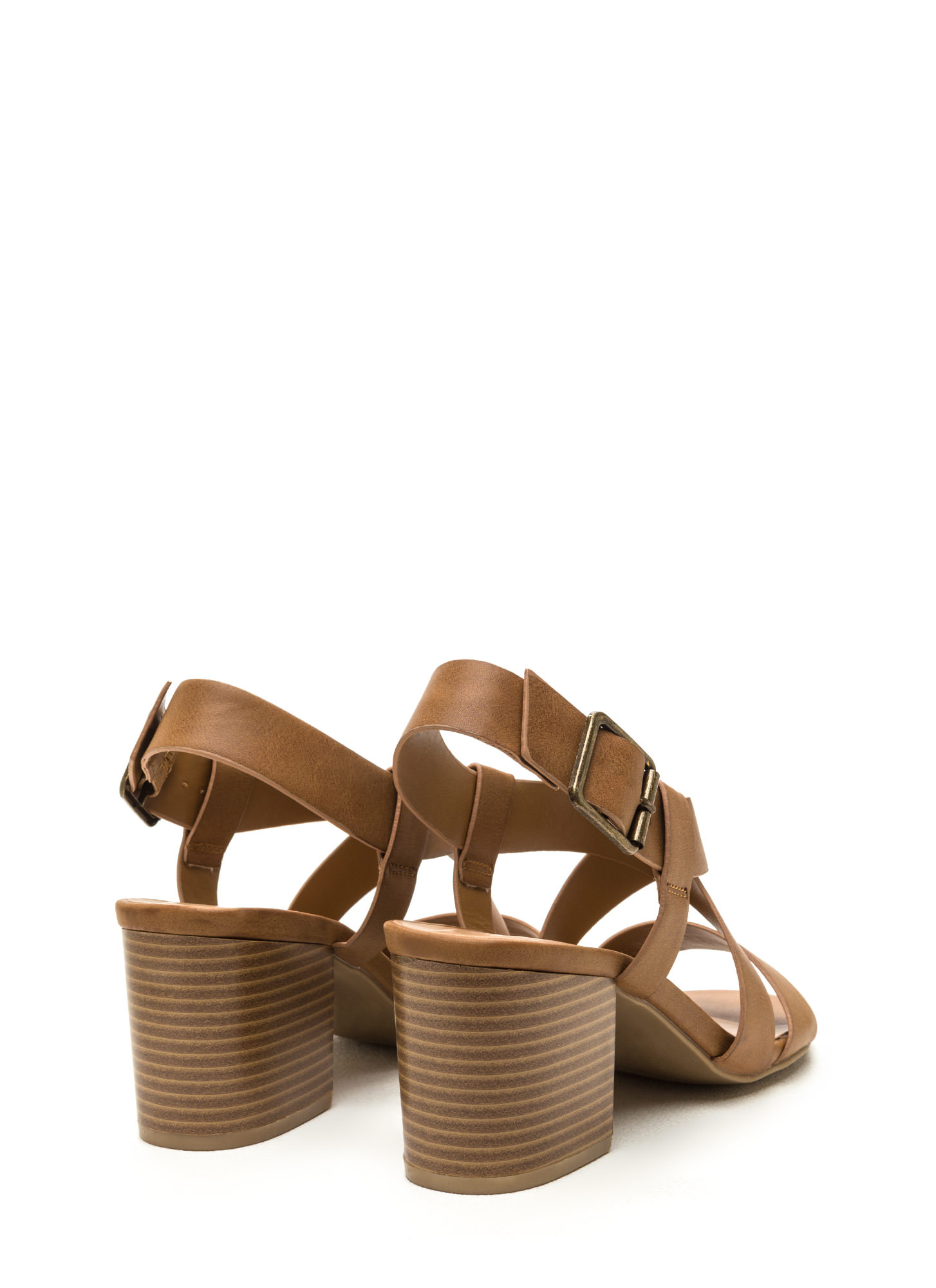 Around The Block Strappy Chunky Heels TAN
