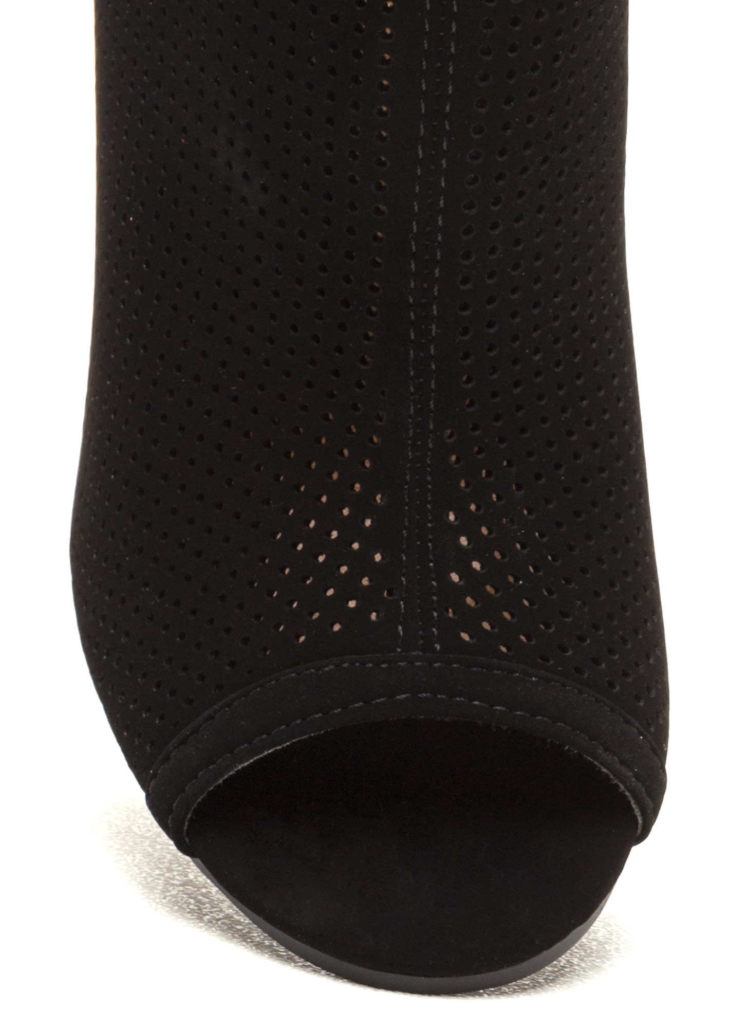 Talk Is Chic Perforated Chunky Booties BLACK