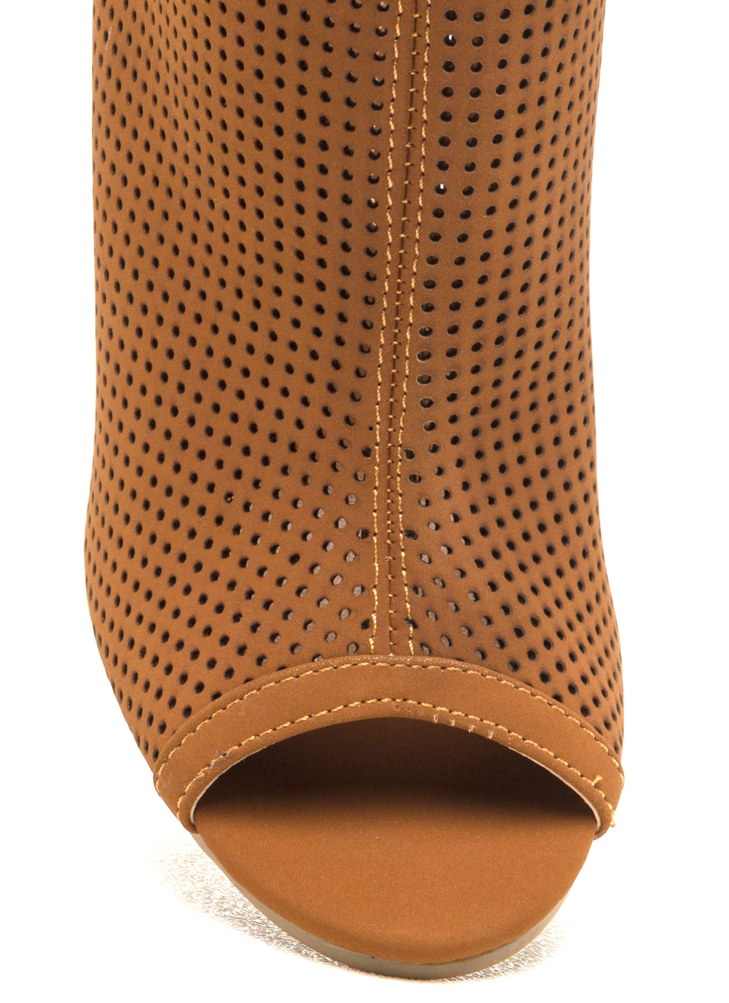 Talk Is Chic Perforated Chunky Booties CHESTNUT