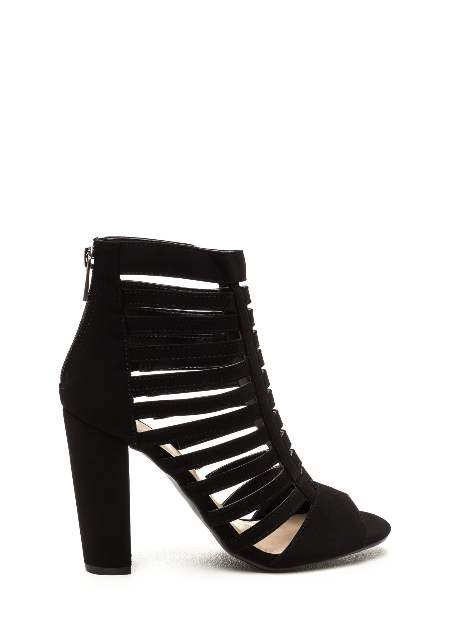 Tell Me More Faux Nubuck Caged Heels BLACK