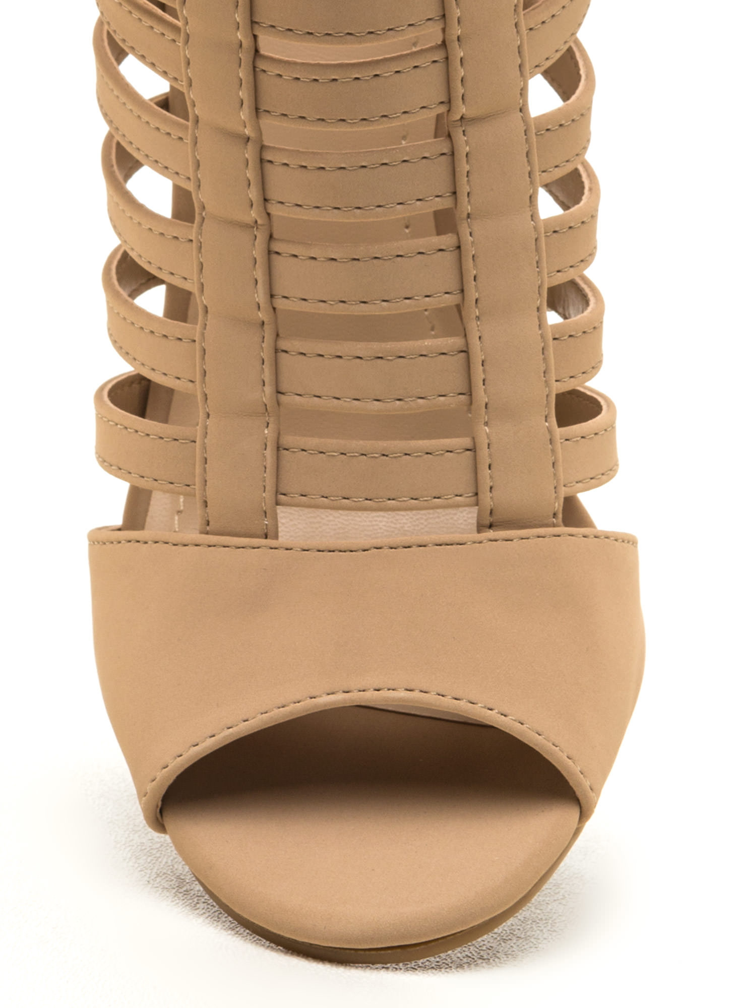 Tell Me More Faux Nubuck Caged Heels NUDE