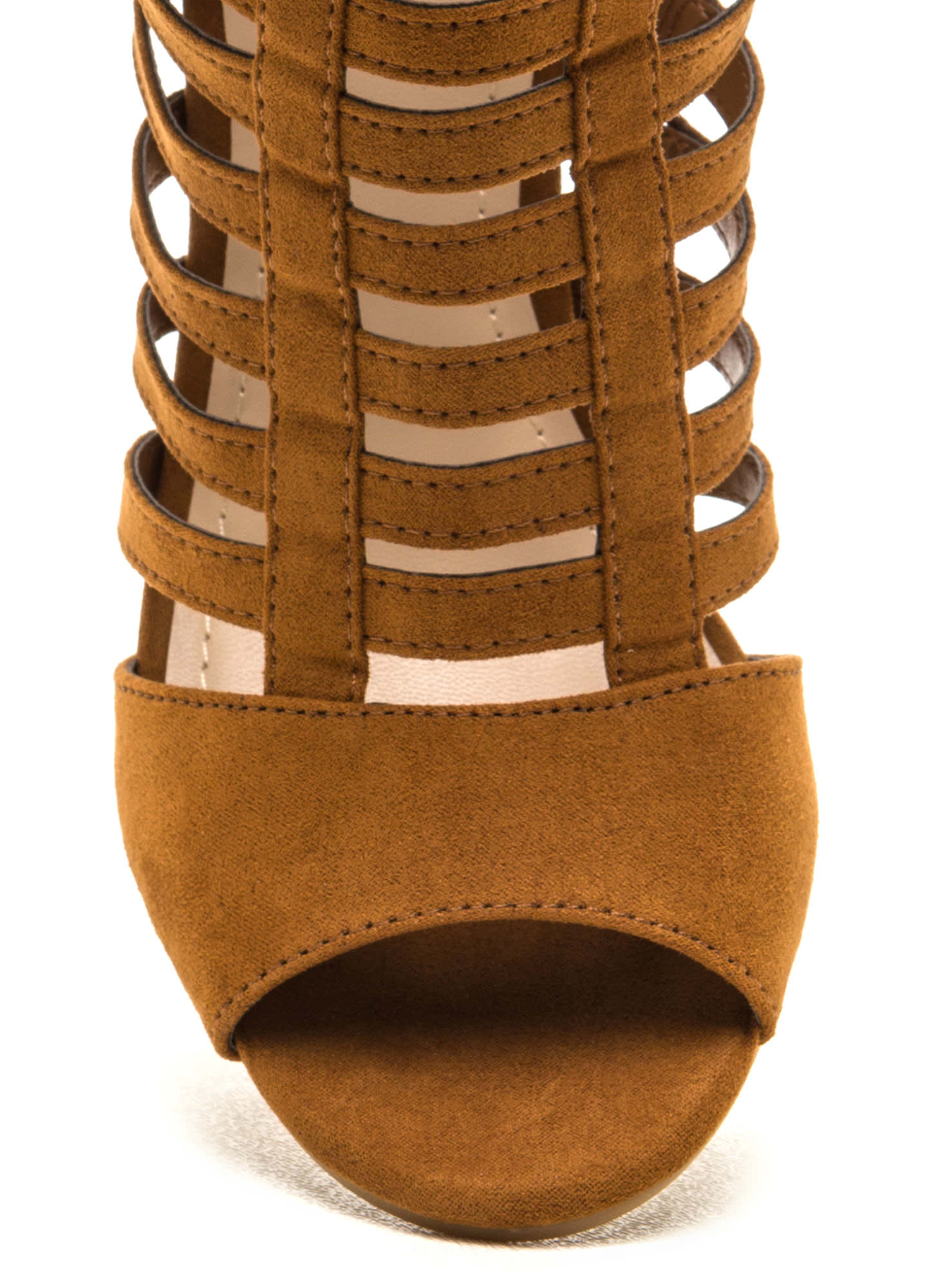 Tell Me More Faux Suede Caged Heels COGNAC