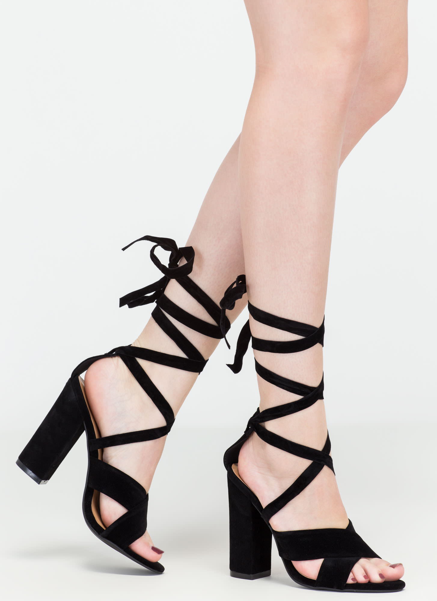 At A Crossroad Strappy Chunky Heels BLACK