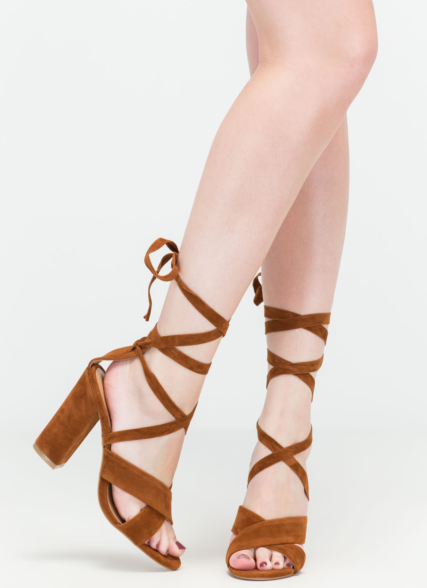 At A Crossroad Strappy Chunky Heels CHESTNUT