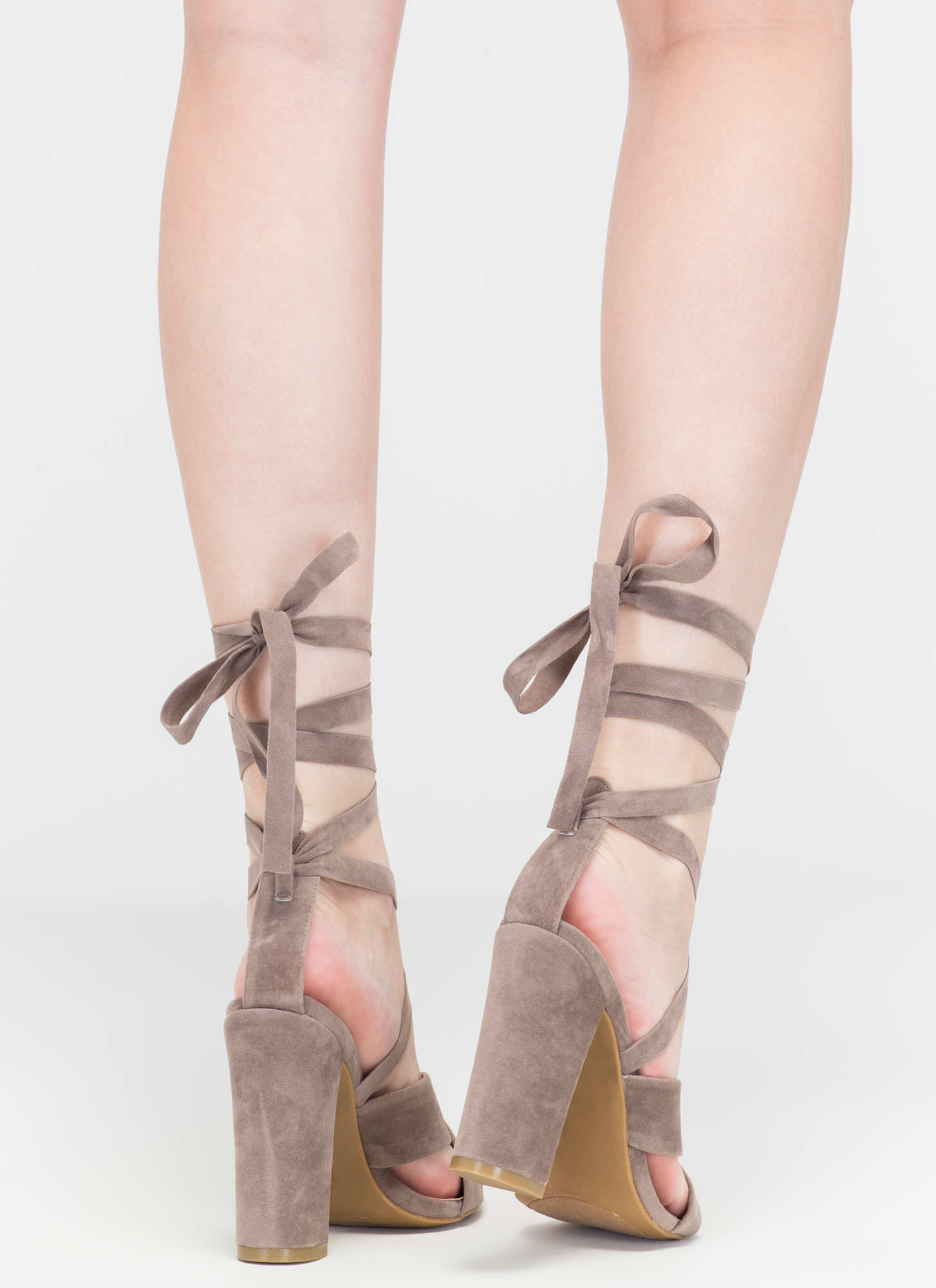 At A Crossroad Strappy Chunky Heels TAUPE