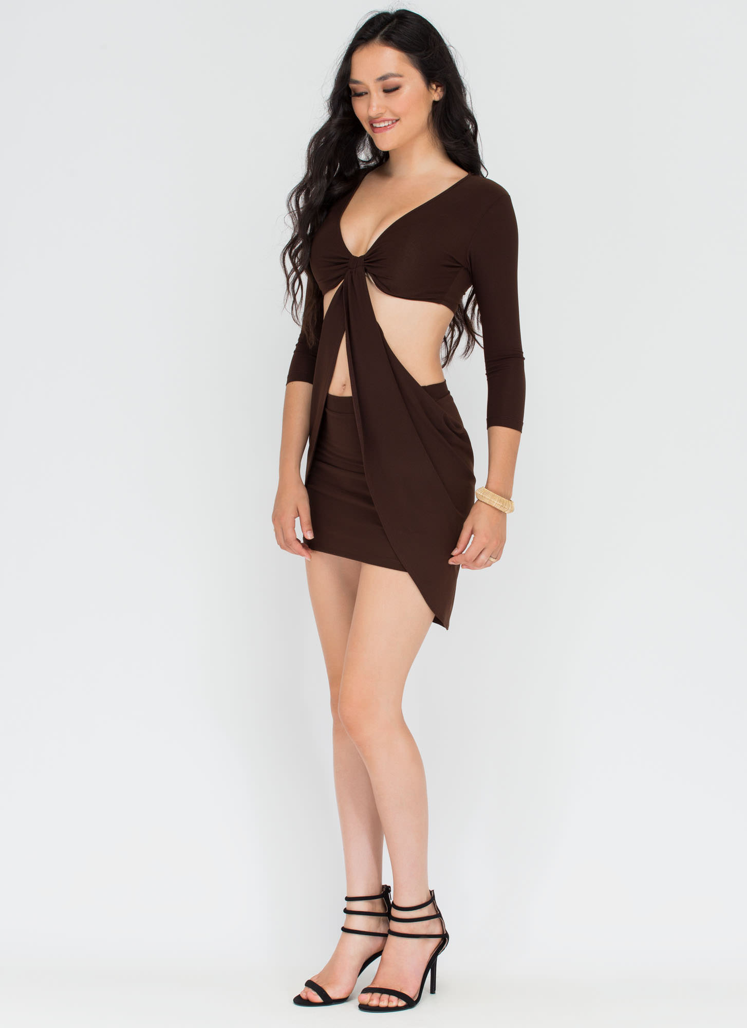 Uptown Twirl Cut-Out Draped Dress BROWN