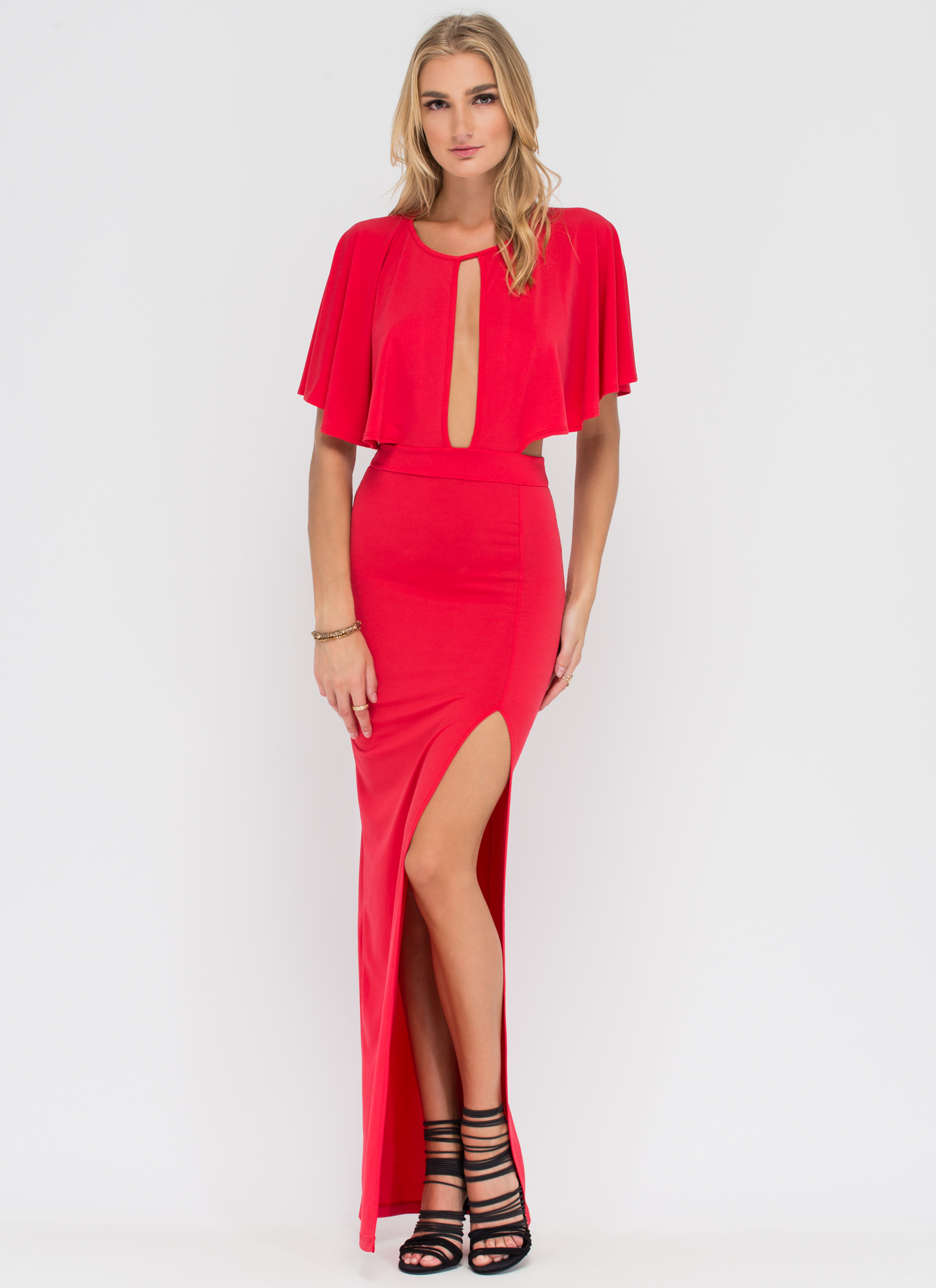 Caped Babe Cut-Out Maxi Dress RED
