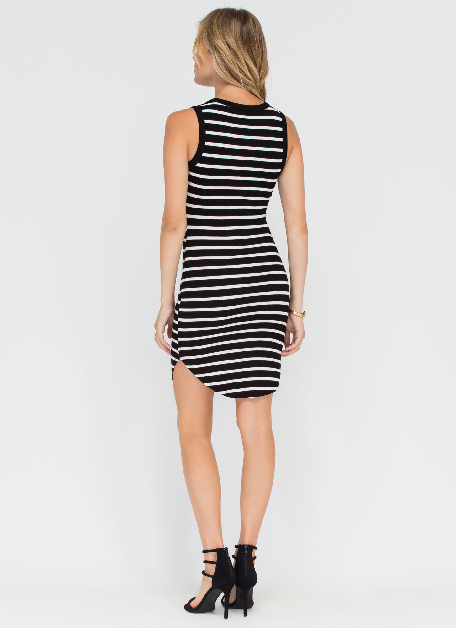 Stripe Force Ribbed Lace-Up Dress BLACKWHITE