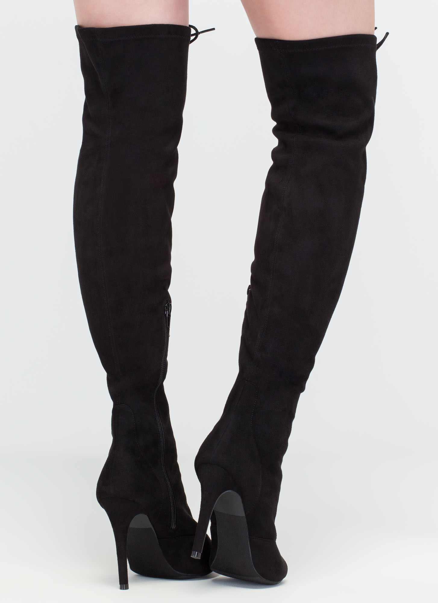 Leg Day Over-The-Knee Lace-Up Boots BLACK