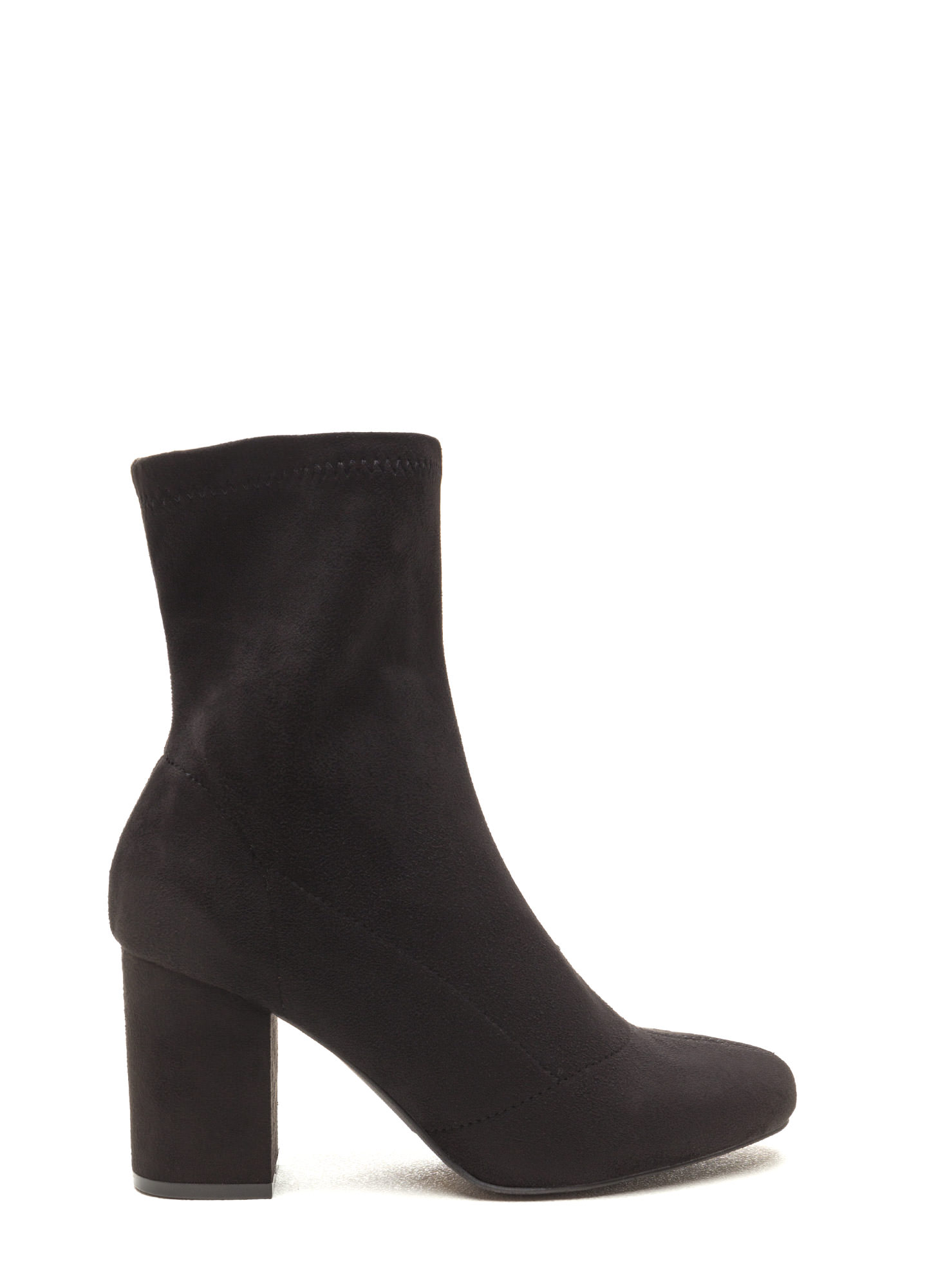 All My Days Faux Suede Chunky Booties BLACK